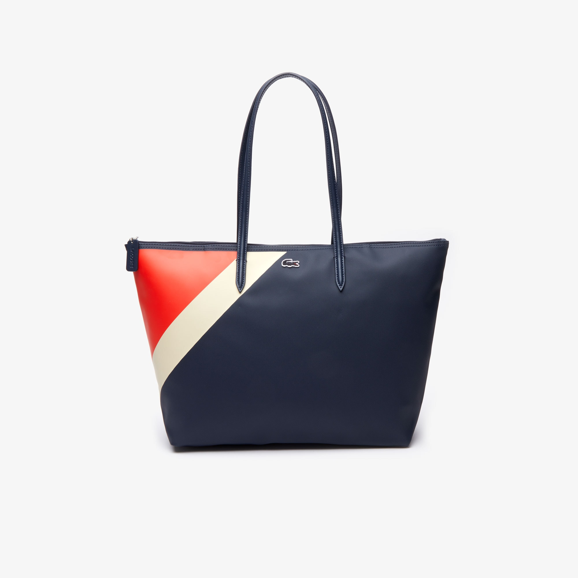 Grand sac cabas L.12.12 zippé tricolore
