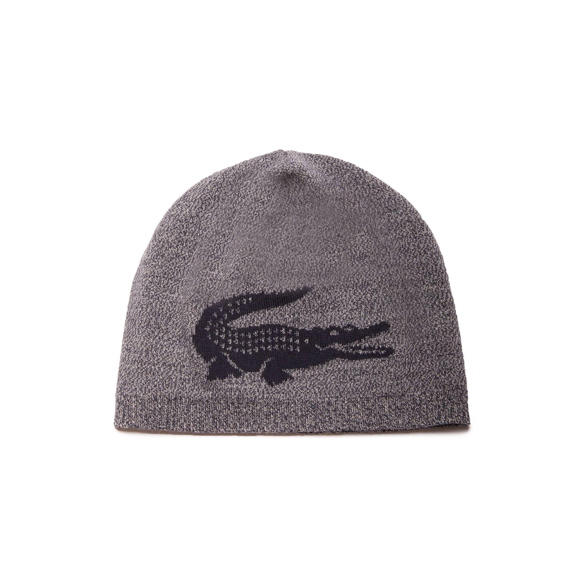 Bonnet en laine avec crocodile jacquard