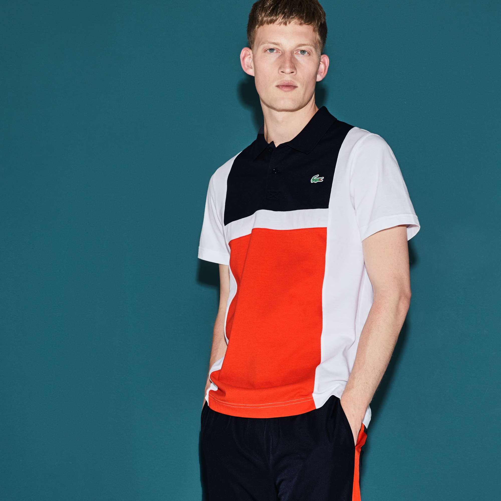 Polo Tennis Lacoste SPORT en coton ultra léger color block
