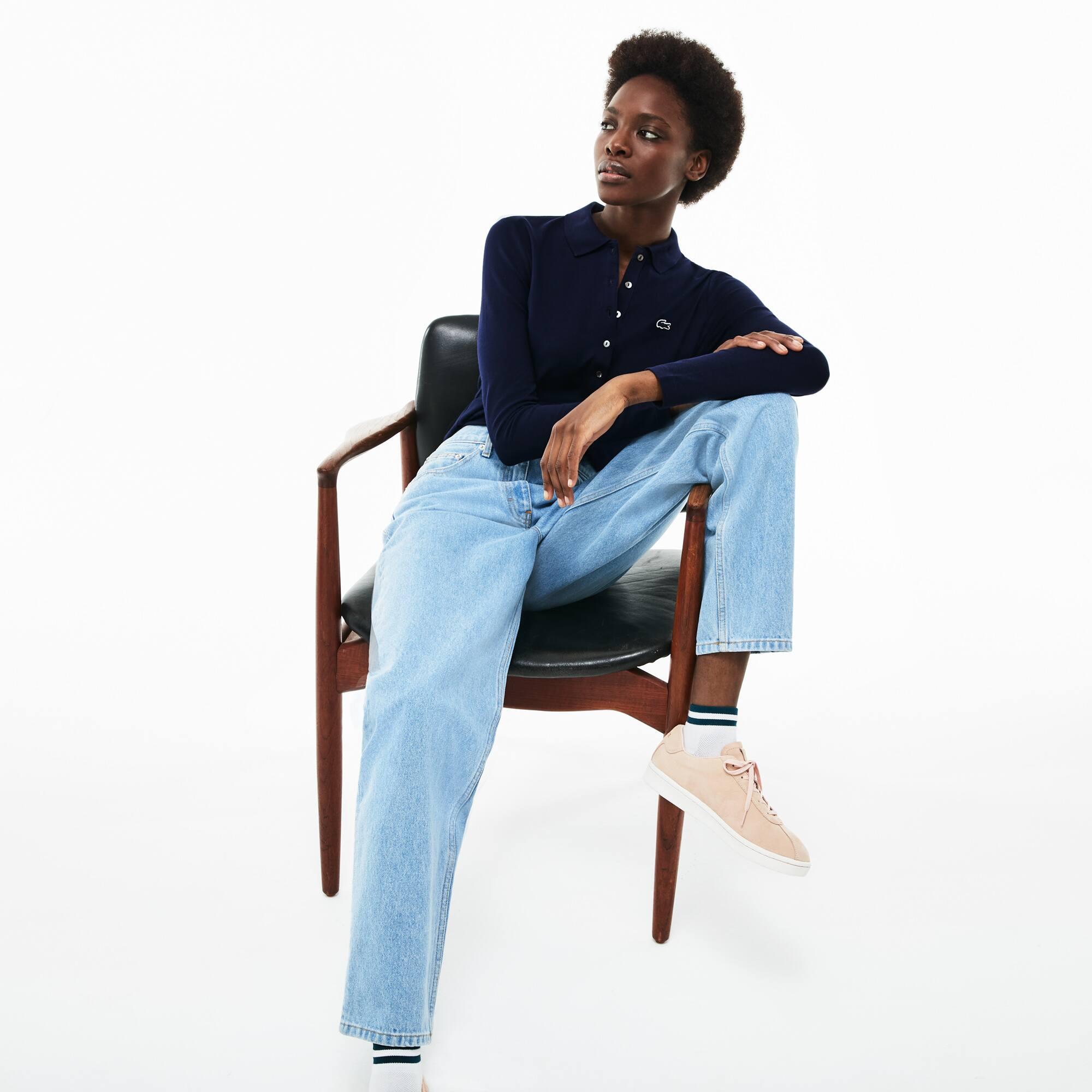 Polo slim fit Lacoste à manches longues en mini piqué stretch