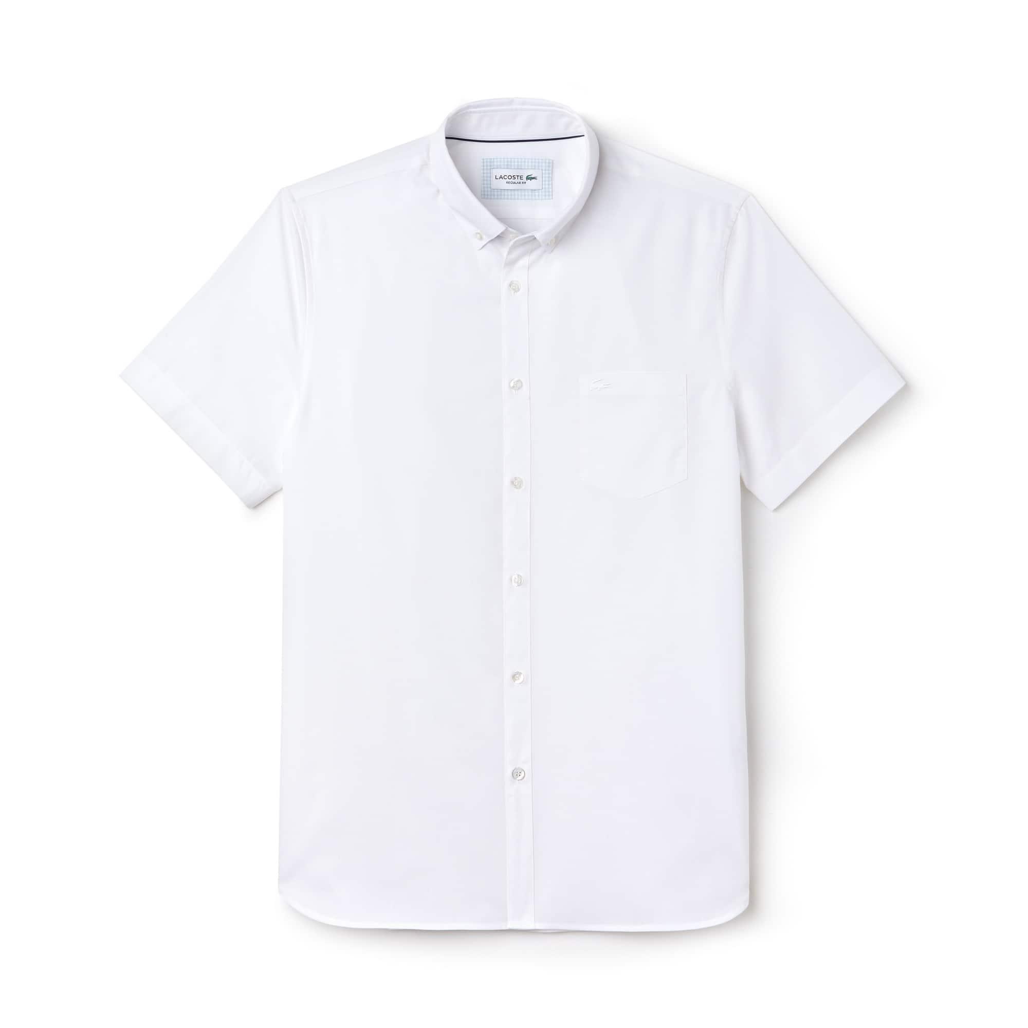 Chemise regular fit à manches courtes en fil à fil de coton uni