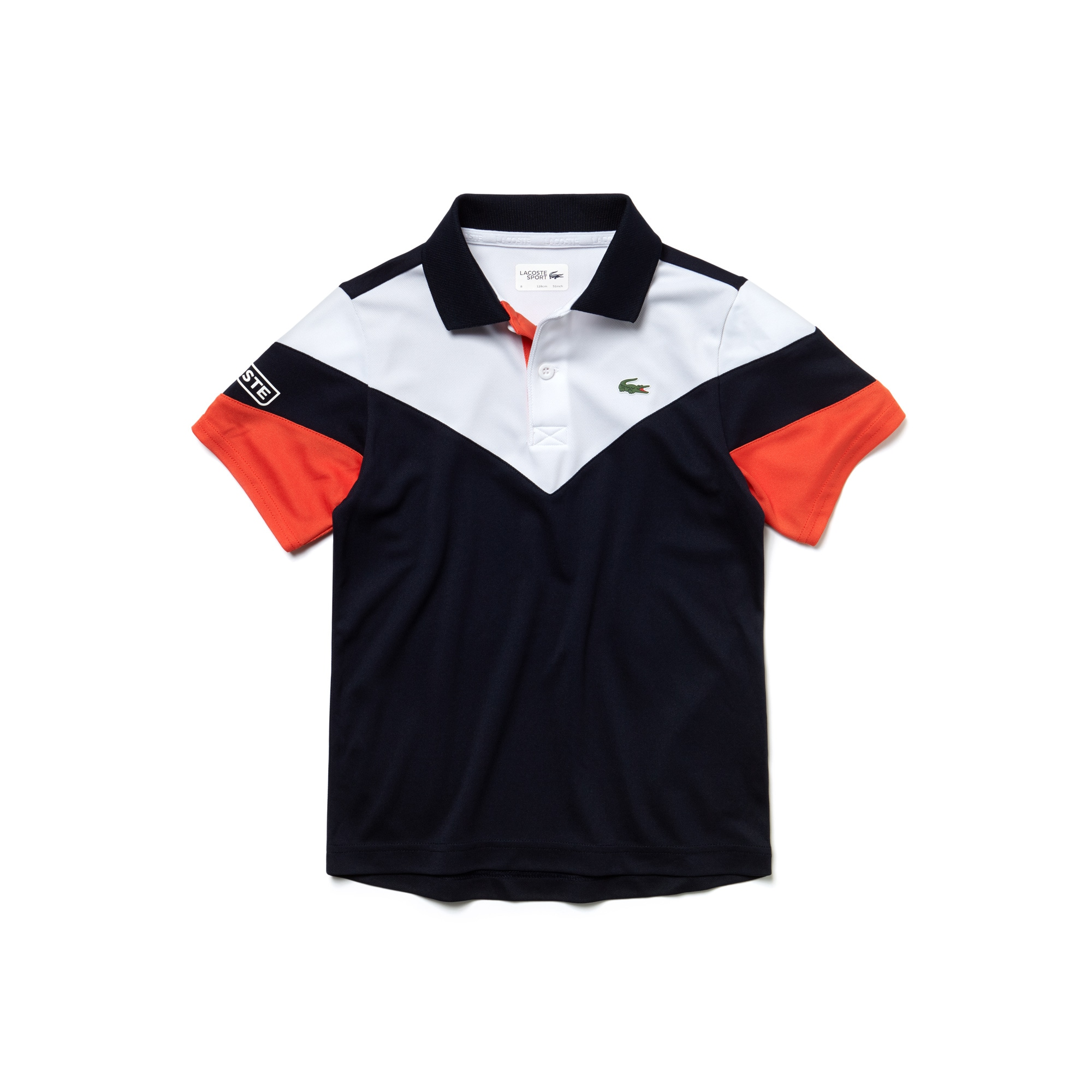 Polo Garçon Tennis Lacoste SPORT en piqué technique color block