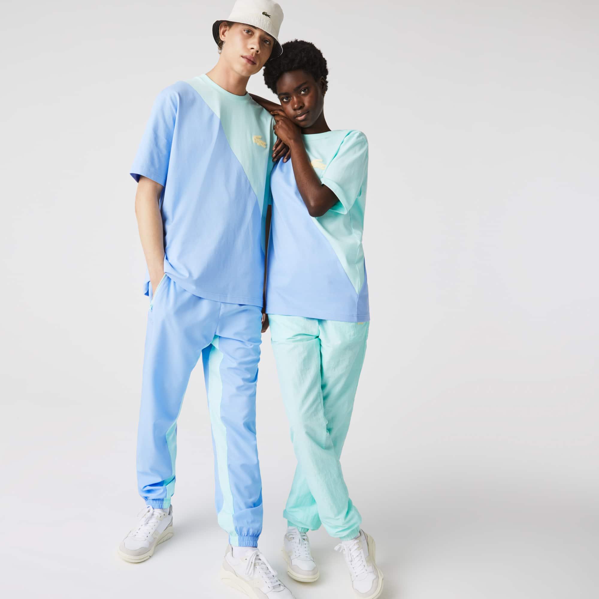 T-shirt unisexe Lacoste LIVE loose fit en coton bicolore Taille 7 - XXL Turquoise / Bleu