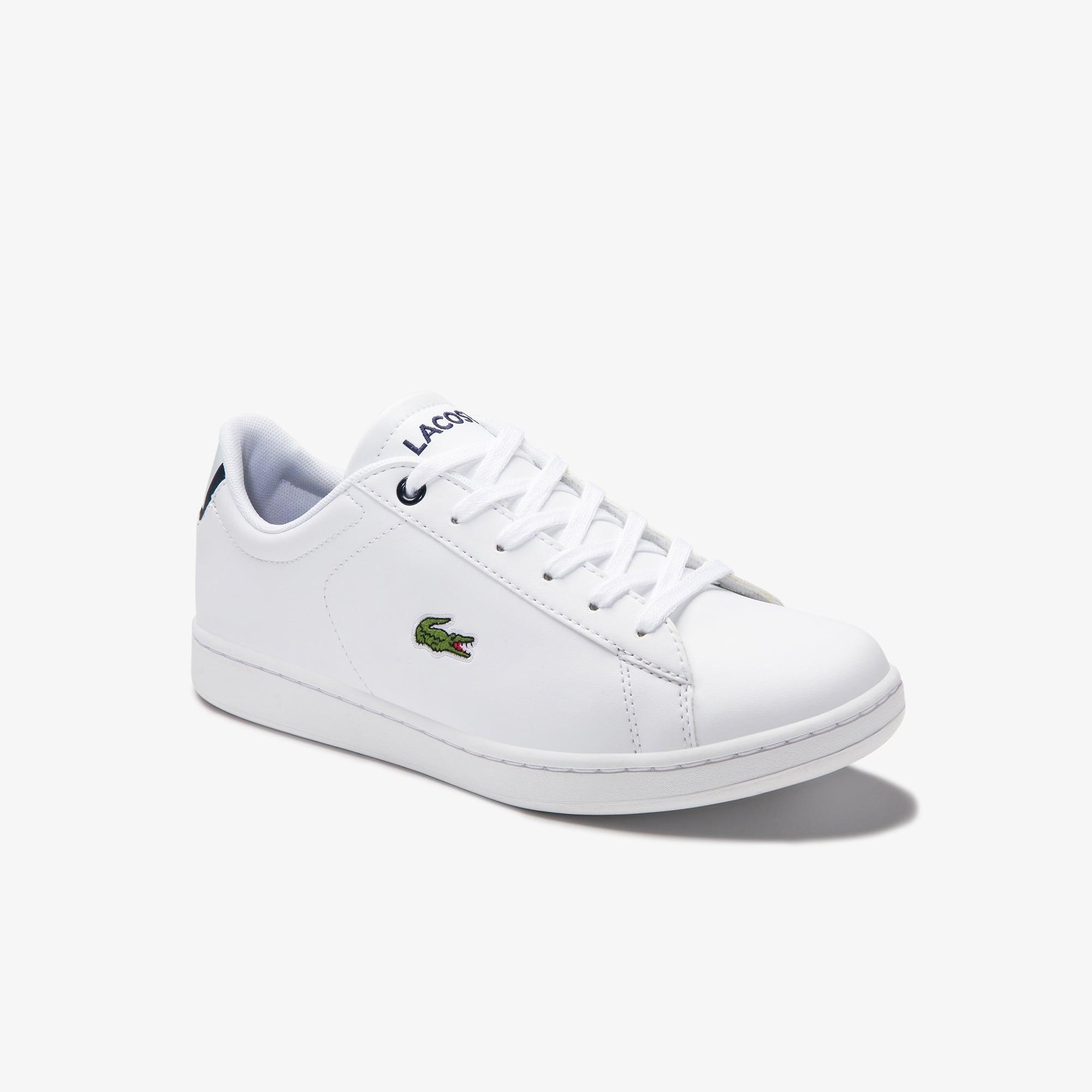 Lacoste Sneakers Carnaby Evo junior doublées ton sur ton en maille et synthétique Taille 39 Blanc/ma