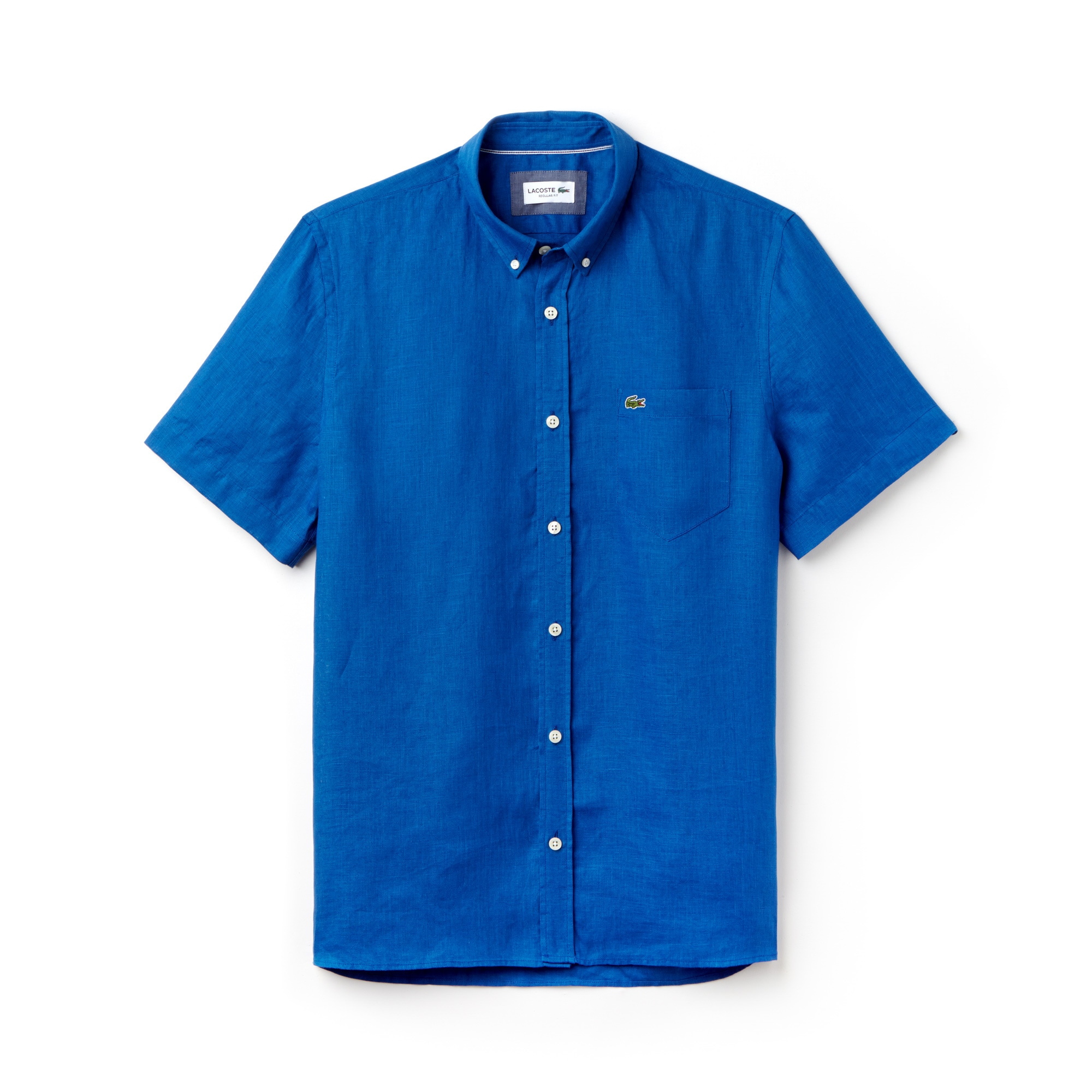 Chemise regular fit à manches courtes en toile de lin unie