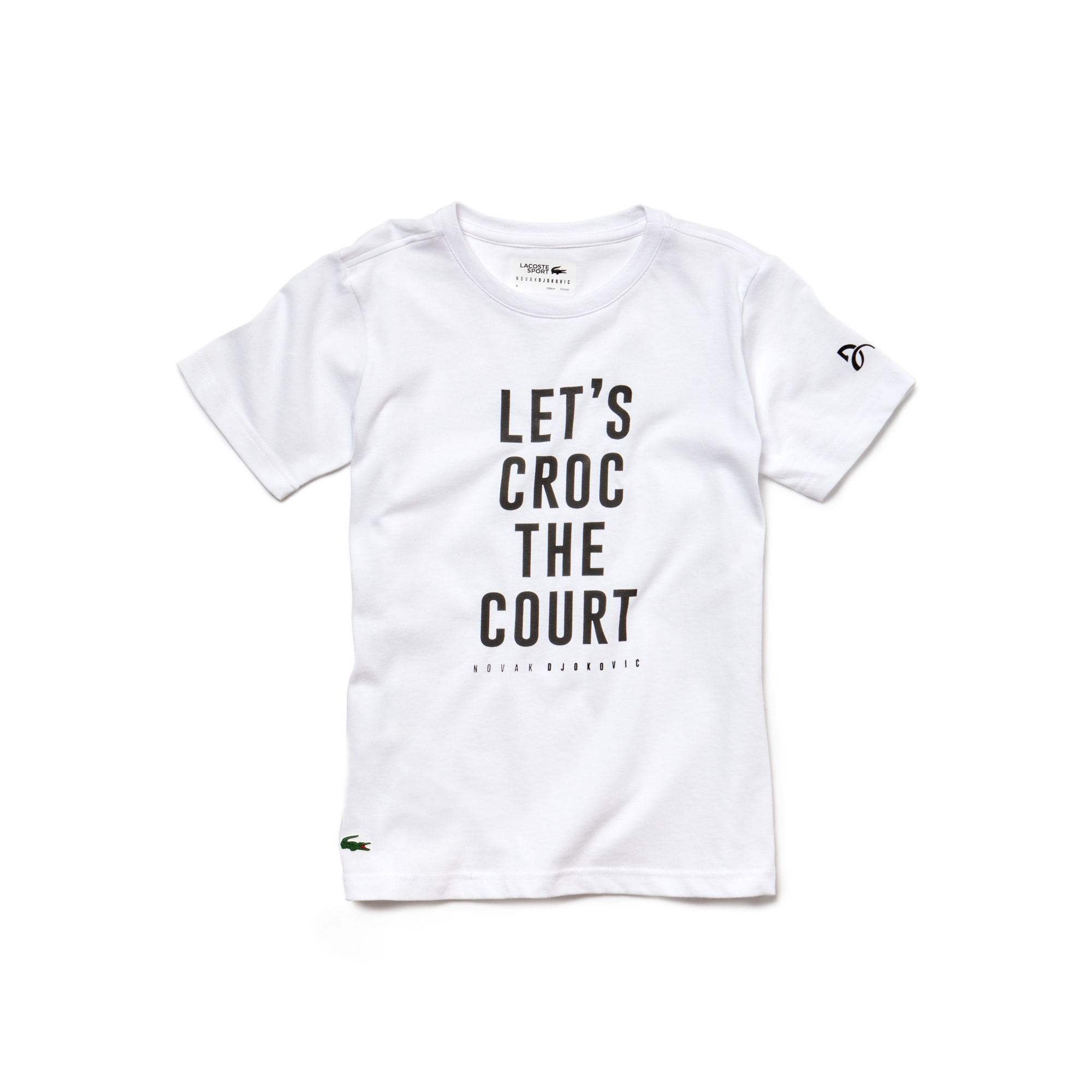 T-shirt Garçon Lacoste SPORT Collection Novak Djokovic Support With Style - Off Court en jersey technique avec marquage