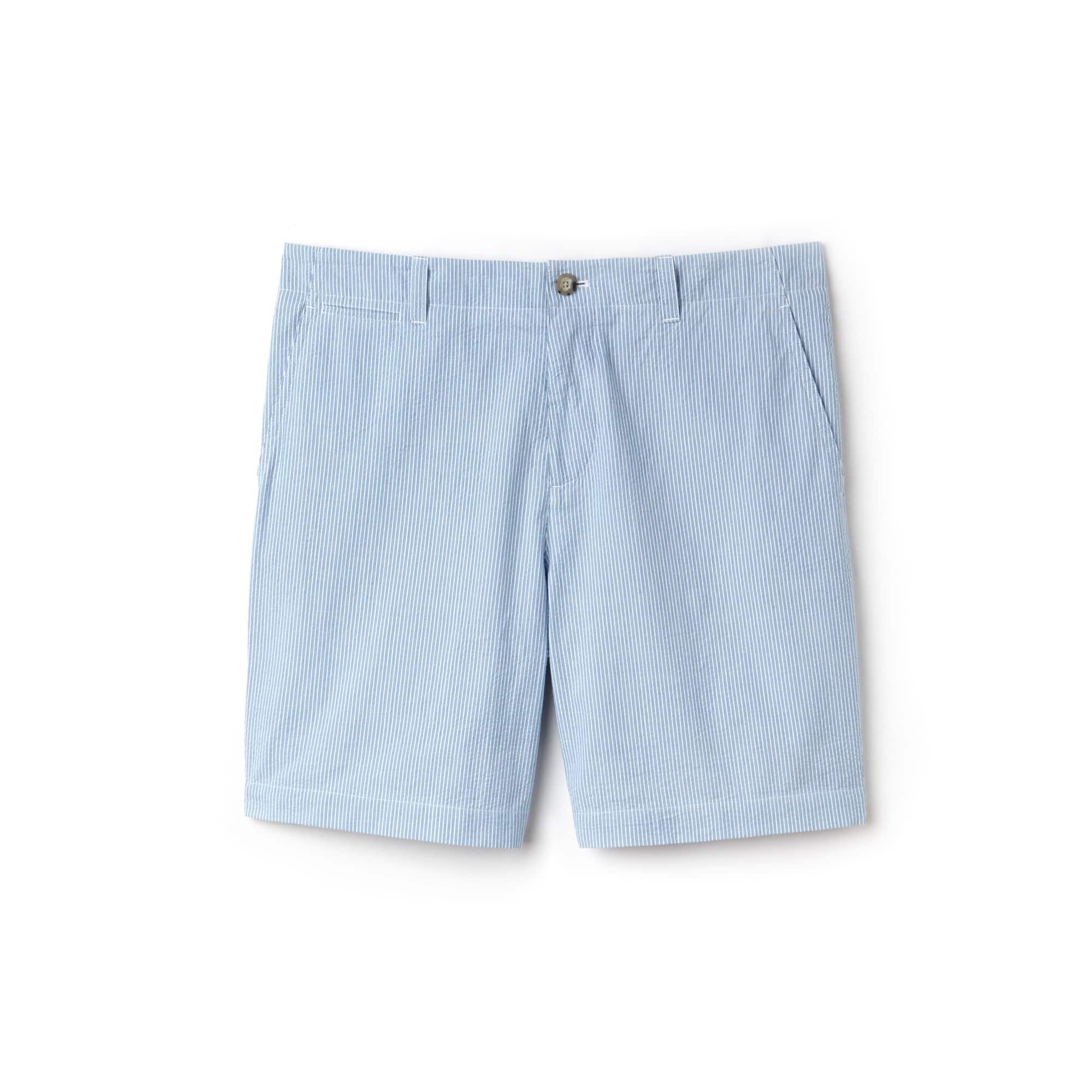 Bermuda regular fit en seersucker de coton à rayures