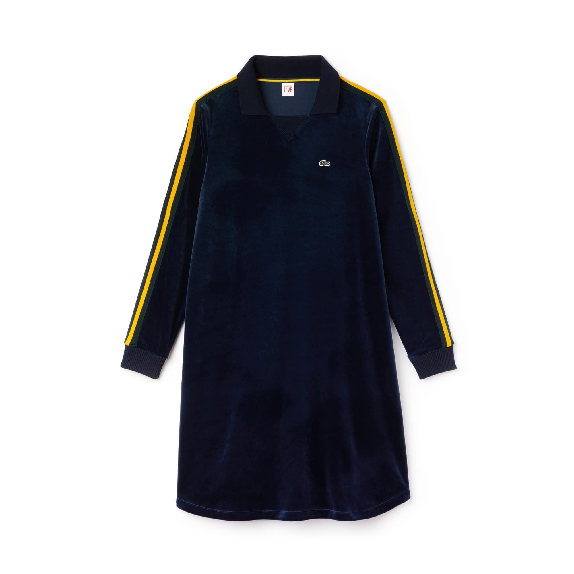 Robe polo évasée à manches longues Lacoste LIVE en velours avec piping