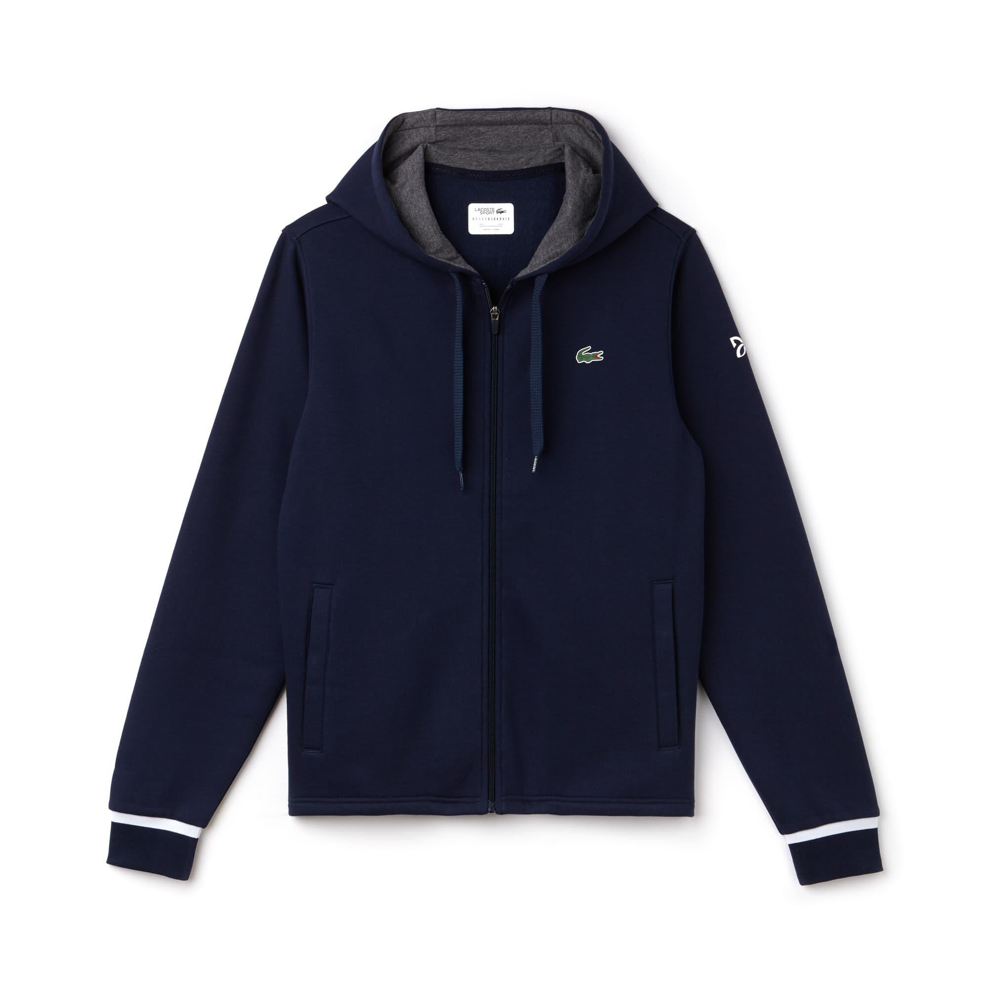Sweatshirt zippé à capuche Lacoste SPORT COLLECTION NOVAK DJOKOVIC SUPPORT WITH STYLE en molleton uni