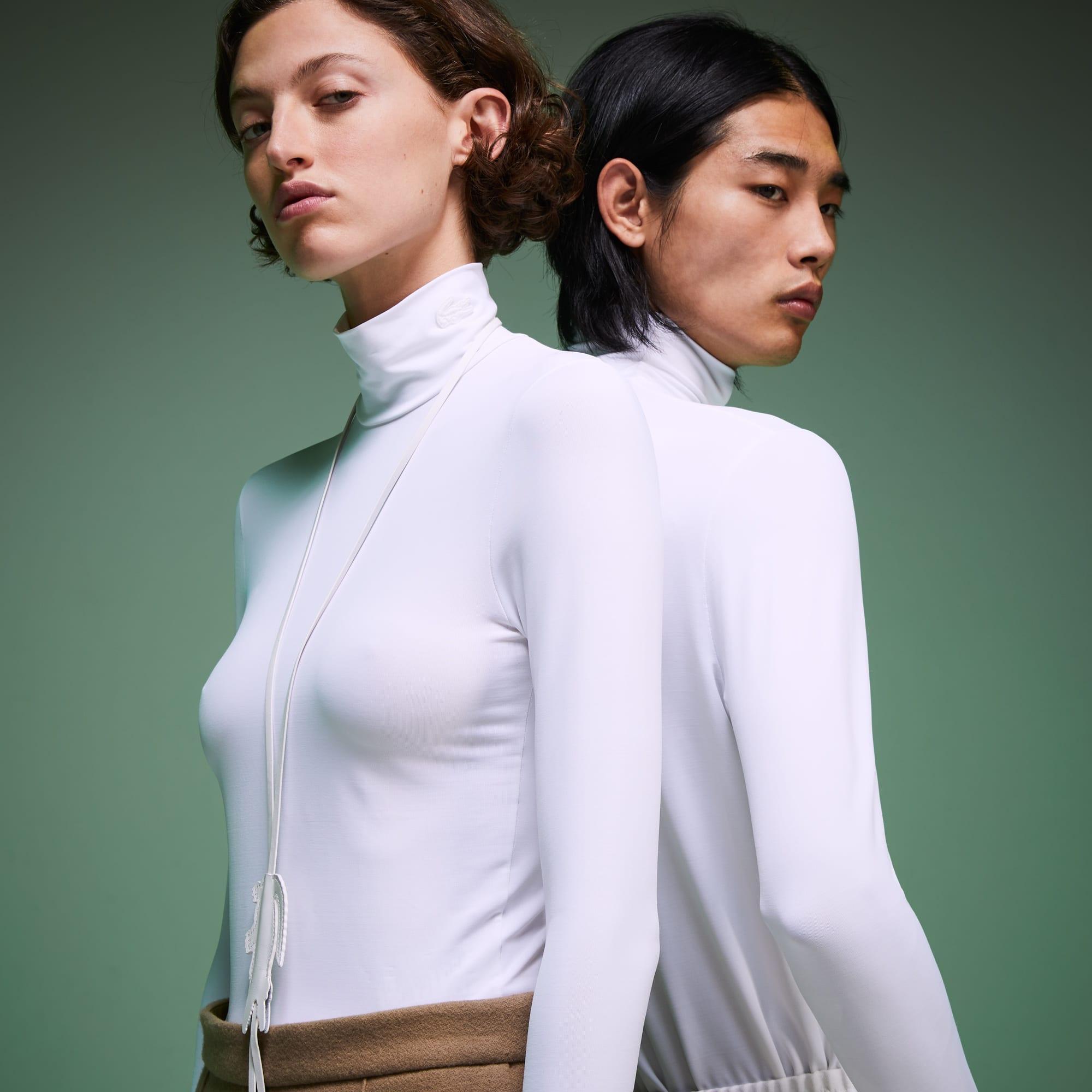 Lacoste T-shirt à col roulé unisexe Édition Défilé en jersey Taille 6 - XL Blanc