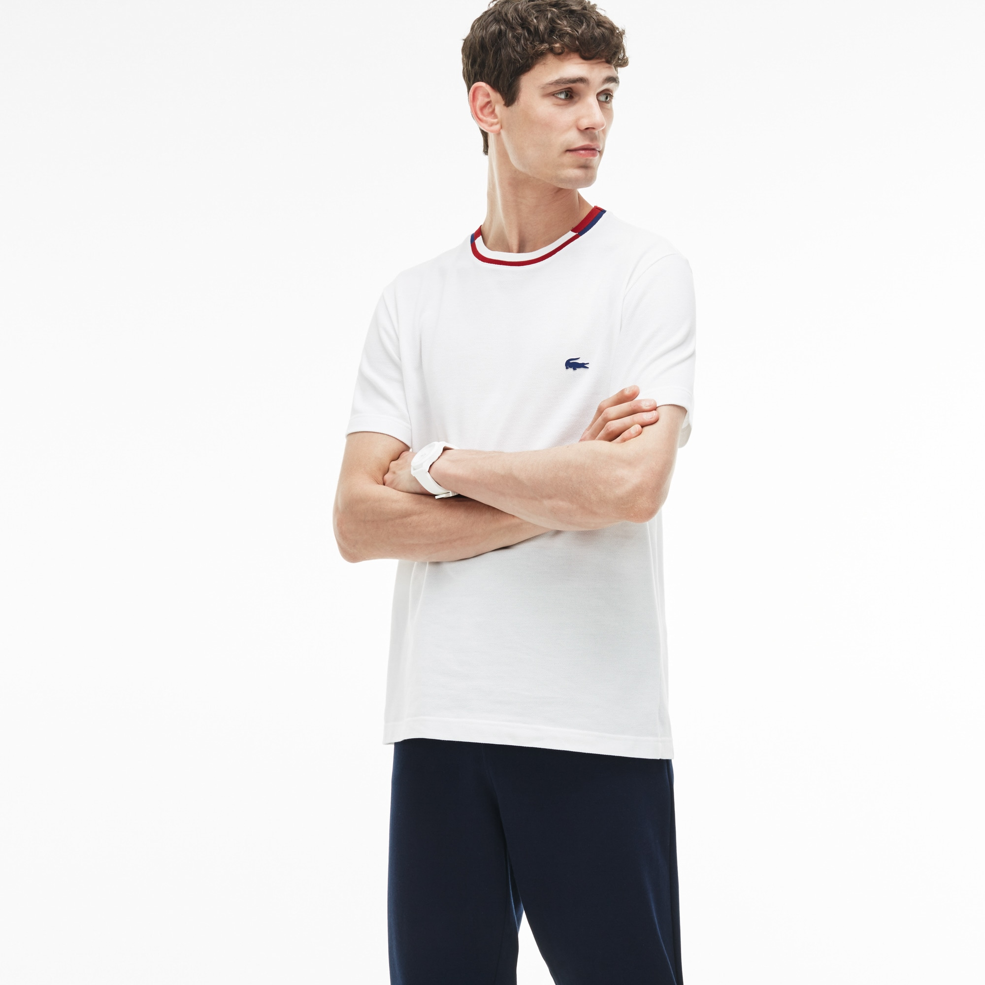 T-shirt col rond rayé et contrasté en petit piqué uni