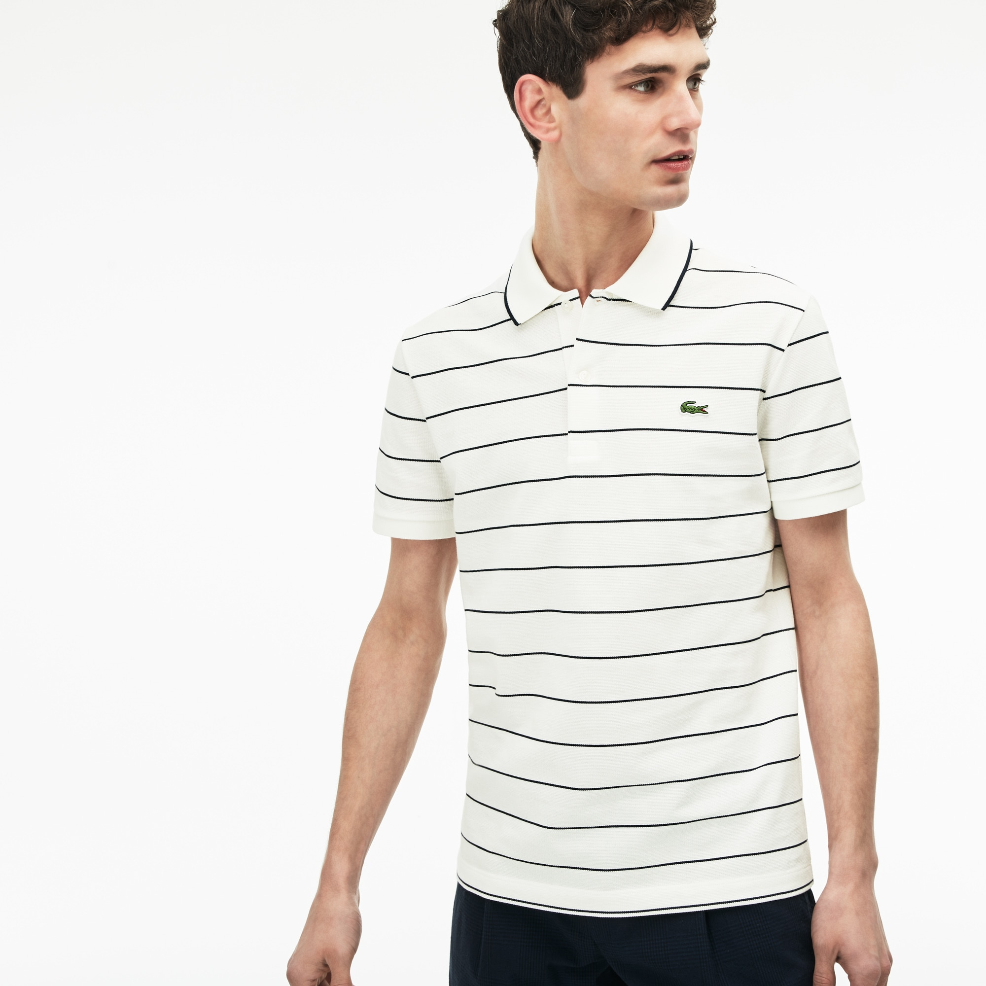 Polo slim fit Lacoste en maille carrée et jersey rayé avec piping
