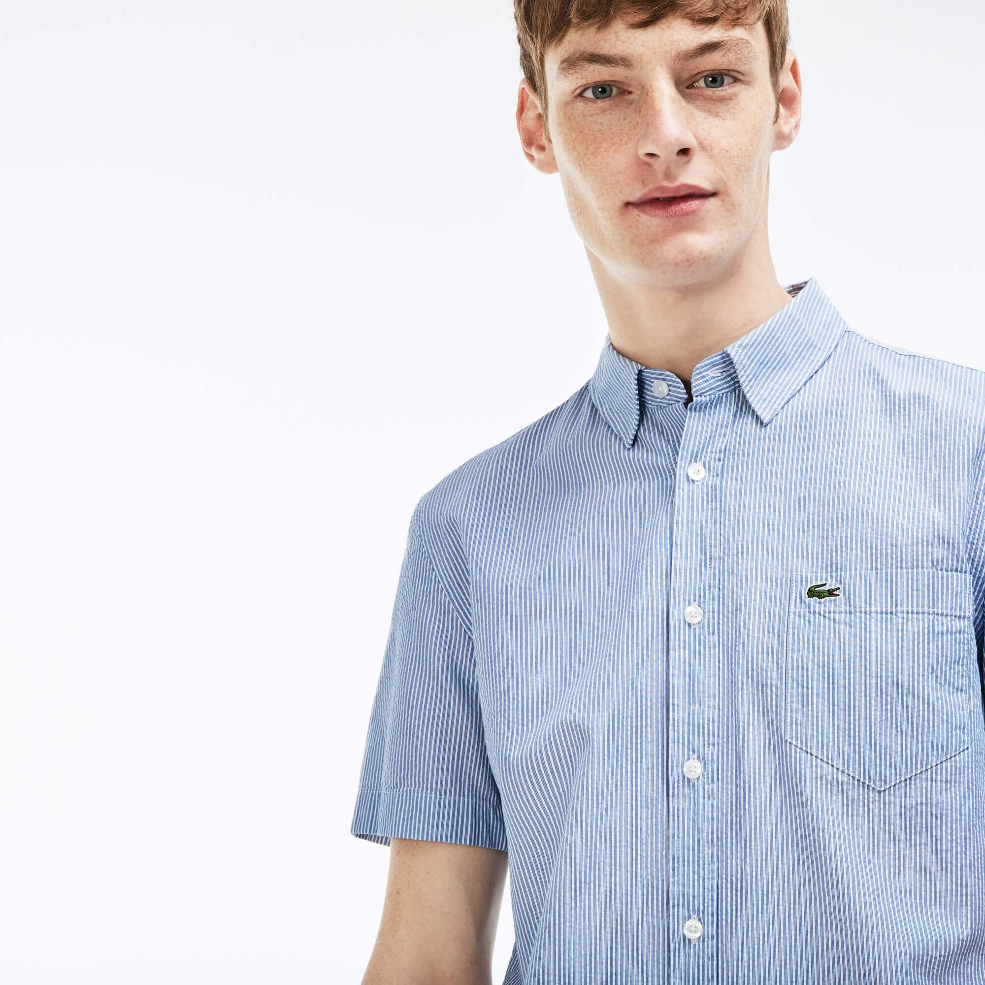 Chemise regular fit à manches courtes en seersucker rayé