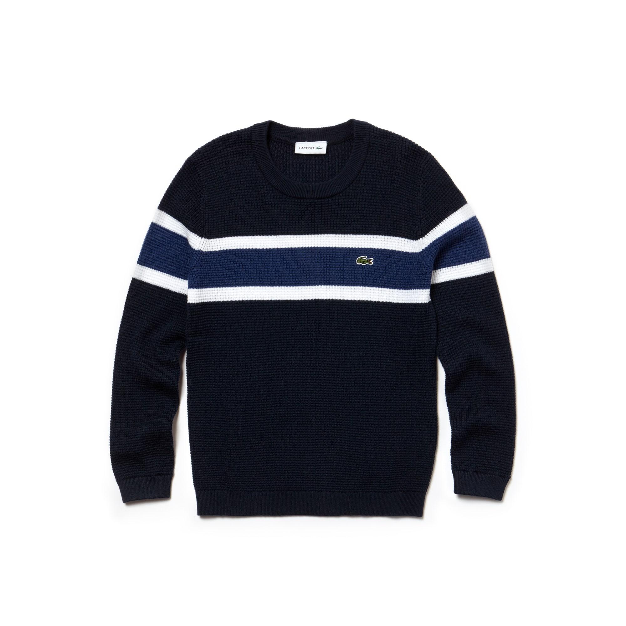 Pull Garçon col rond en coton gaufré avec bandes contrastées