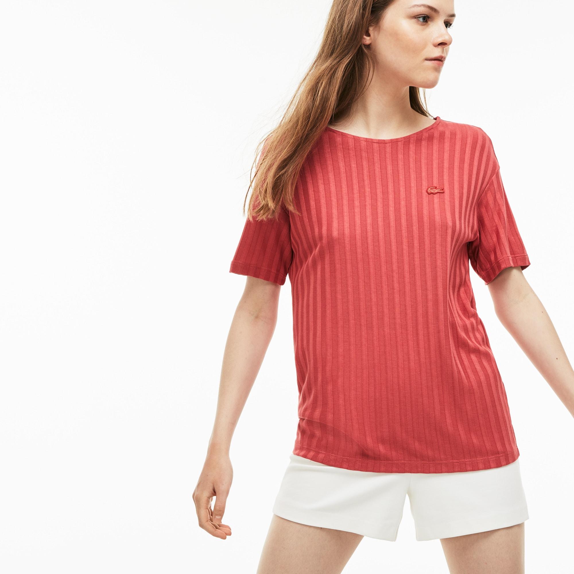T-shirt col évasé à manches trois quarts en rayon