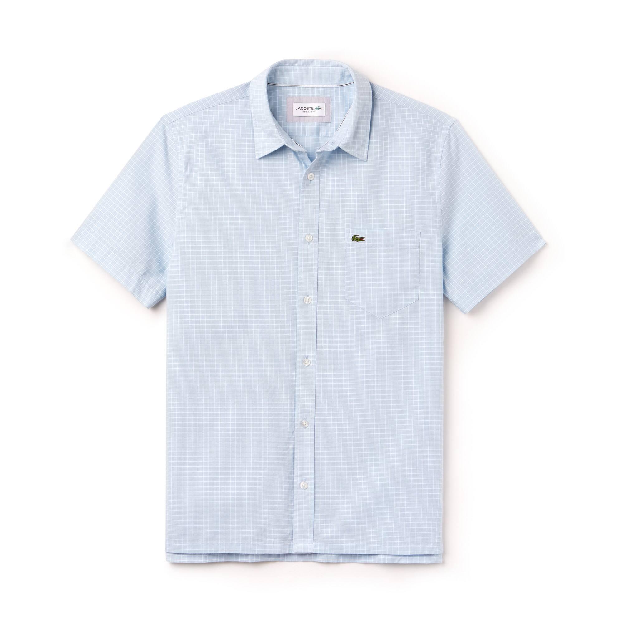 Chemise regular fit à manches courtes en popeline à carreaux