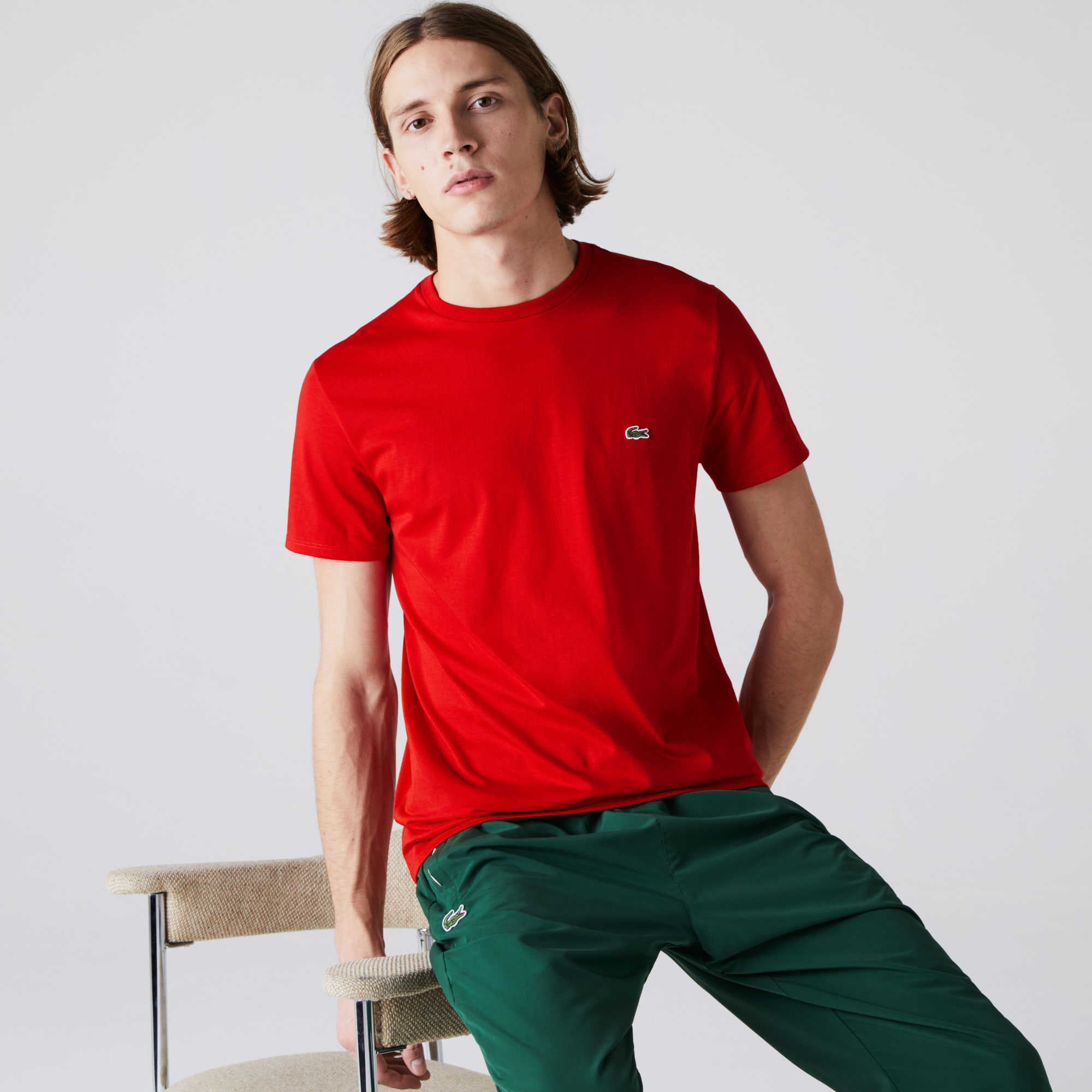 T-shirt col rond en jersey de coton pima uni