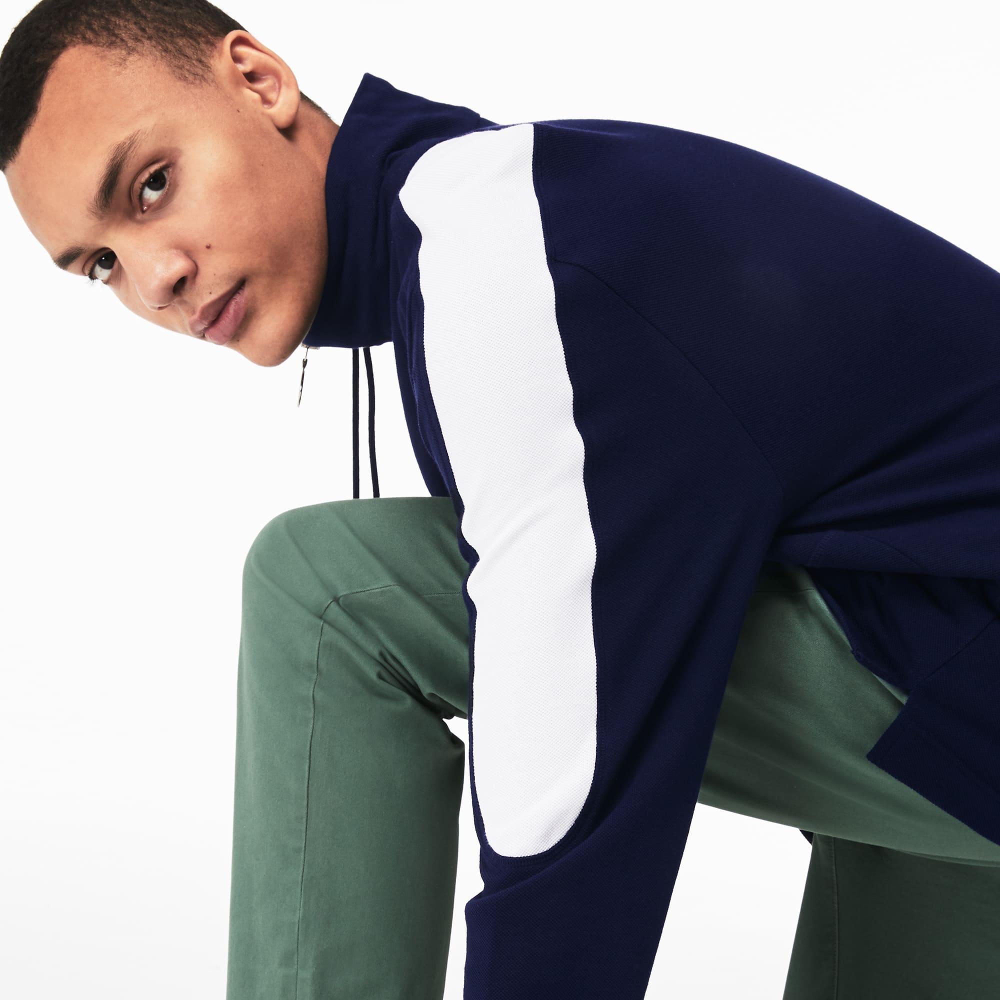 e7a62c3164 Sweatshirt col montant zippé en coton color-block