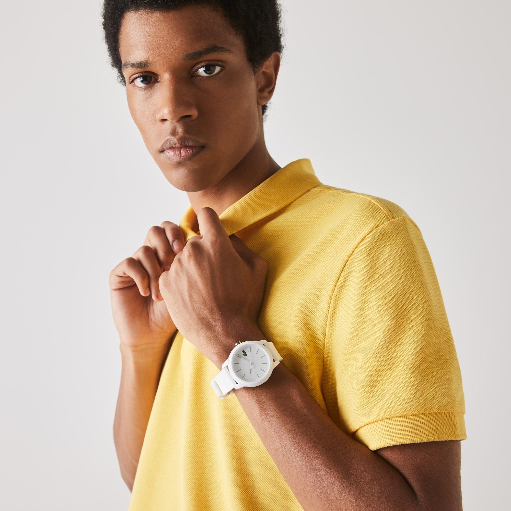 0e0ffa1a9e5b2 Montre Homme Lacoste 12.12 3 aiguilles avec Bracelet Silicone Blanc