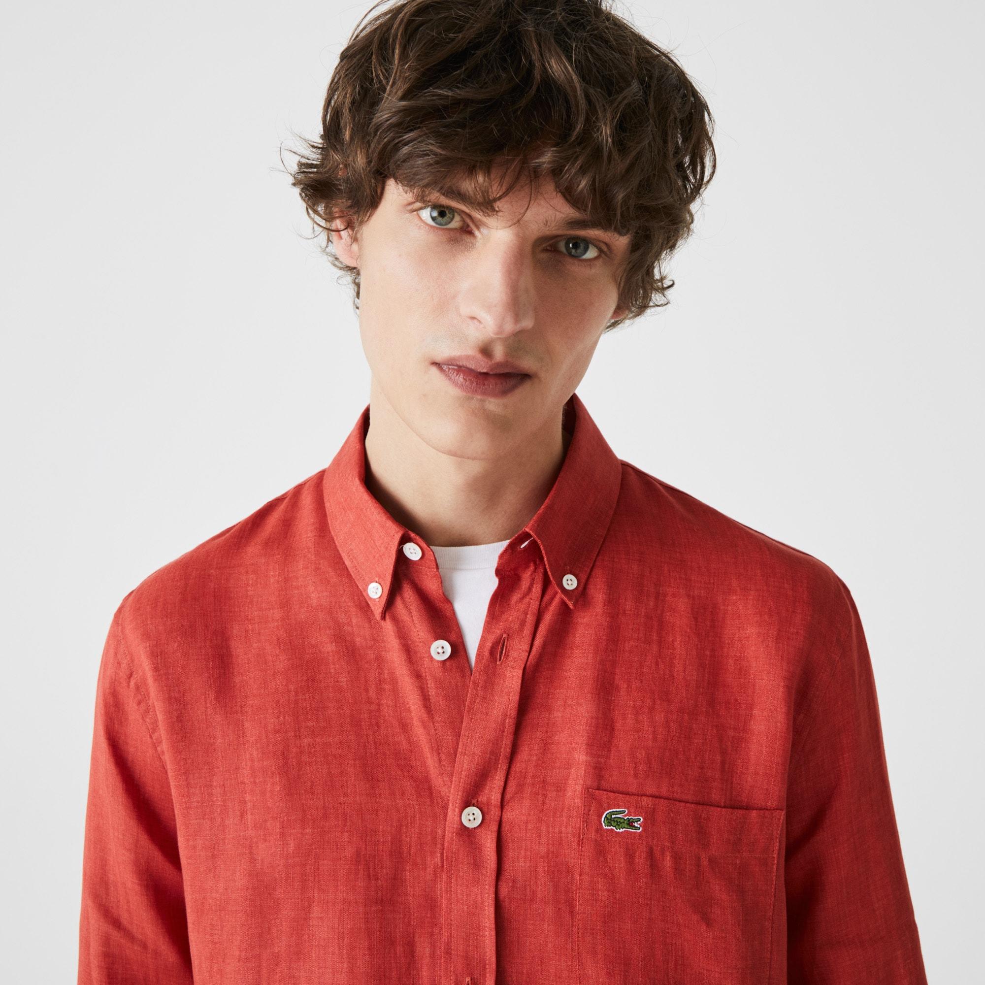 Lacoste Chemise regular fit en toile de lin unie Taille 46 Rouge