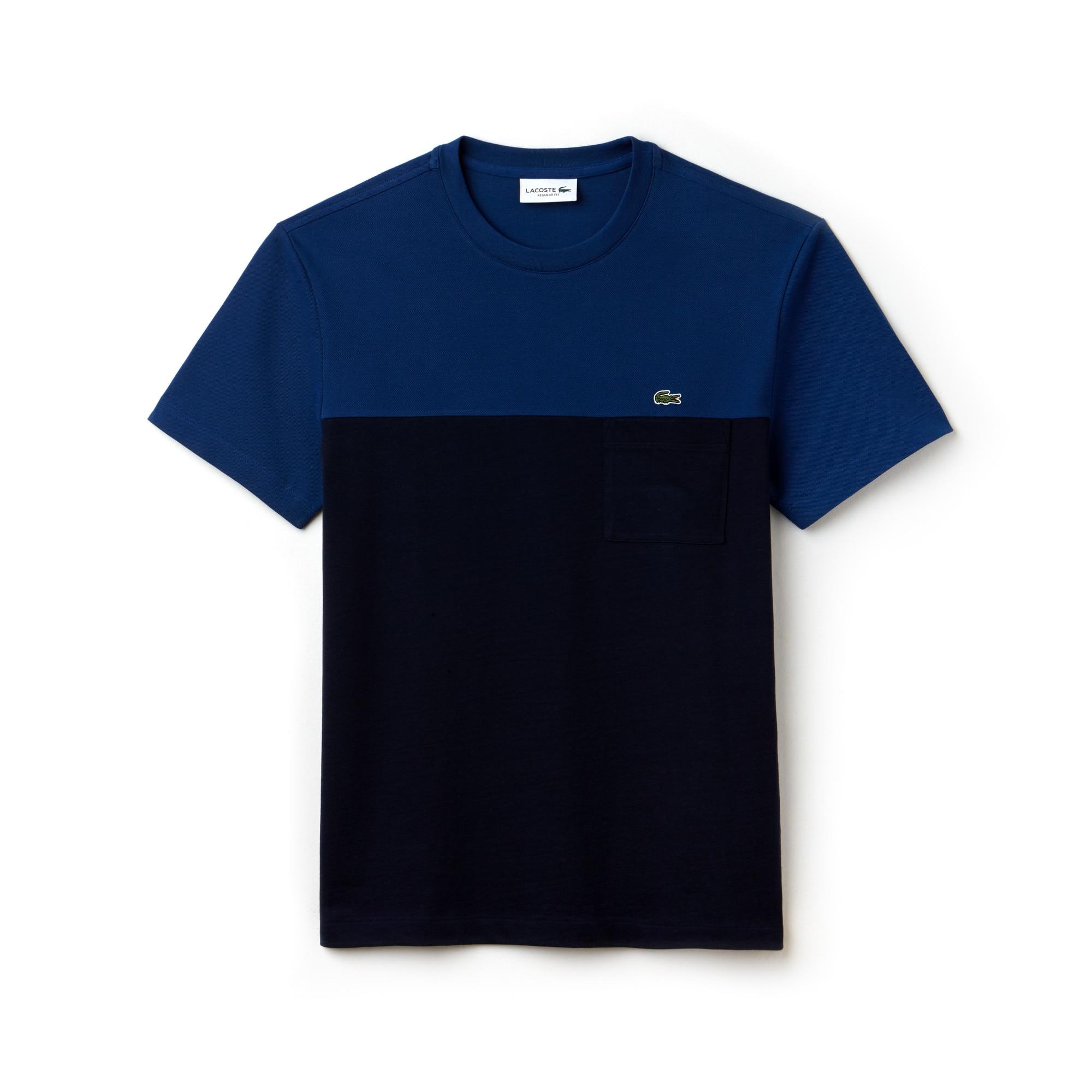 T-shirt col rond en mini piqué et jersey color block