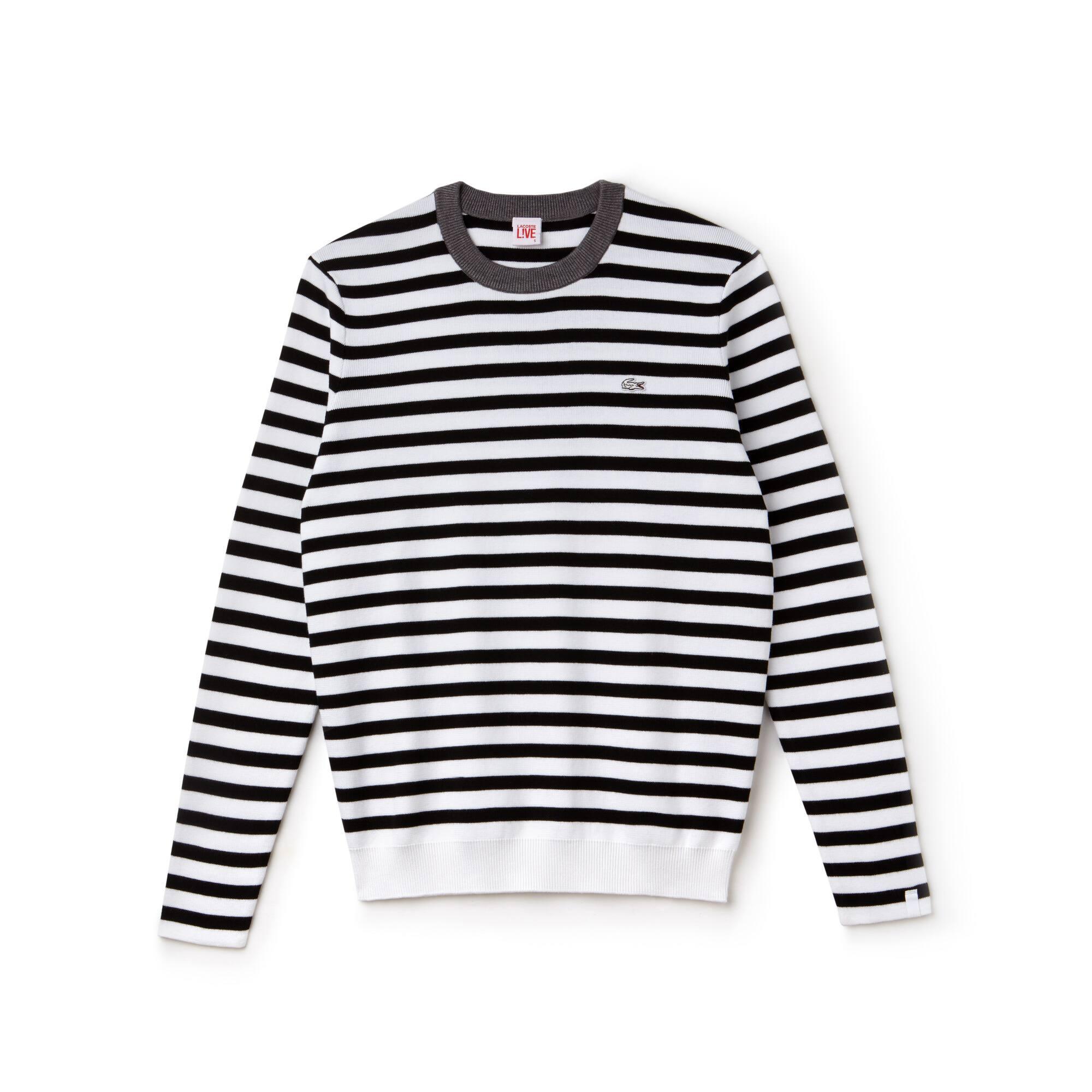 Pull col rond Lacoste LIVE en jersey de coton à rayures