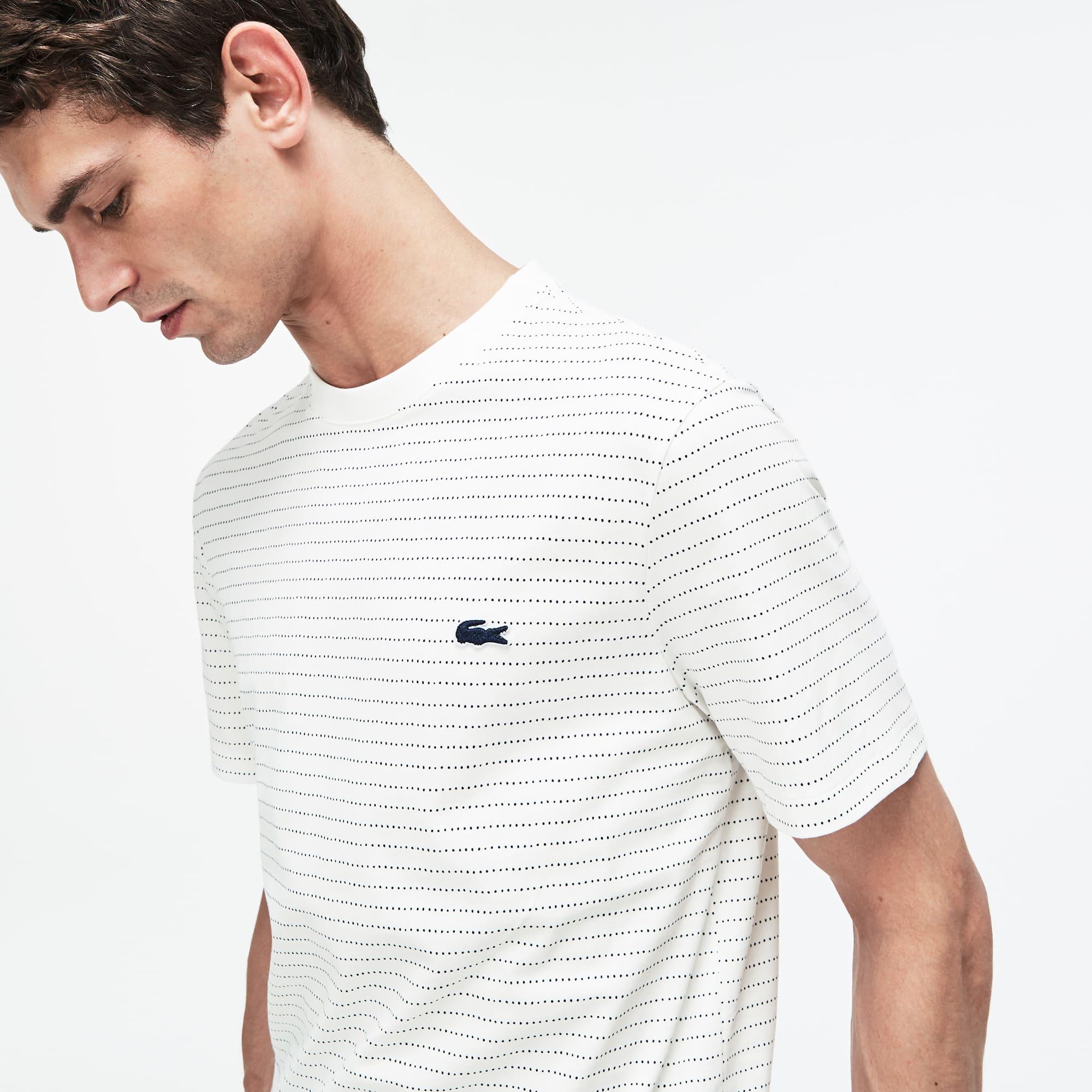 Lacoste - T-shirt col rond en jersey de coton imprimé filet - 4