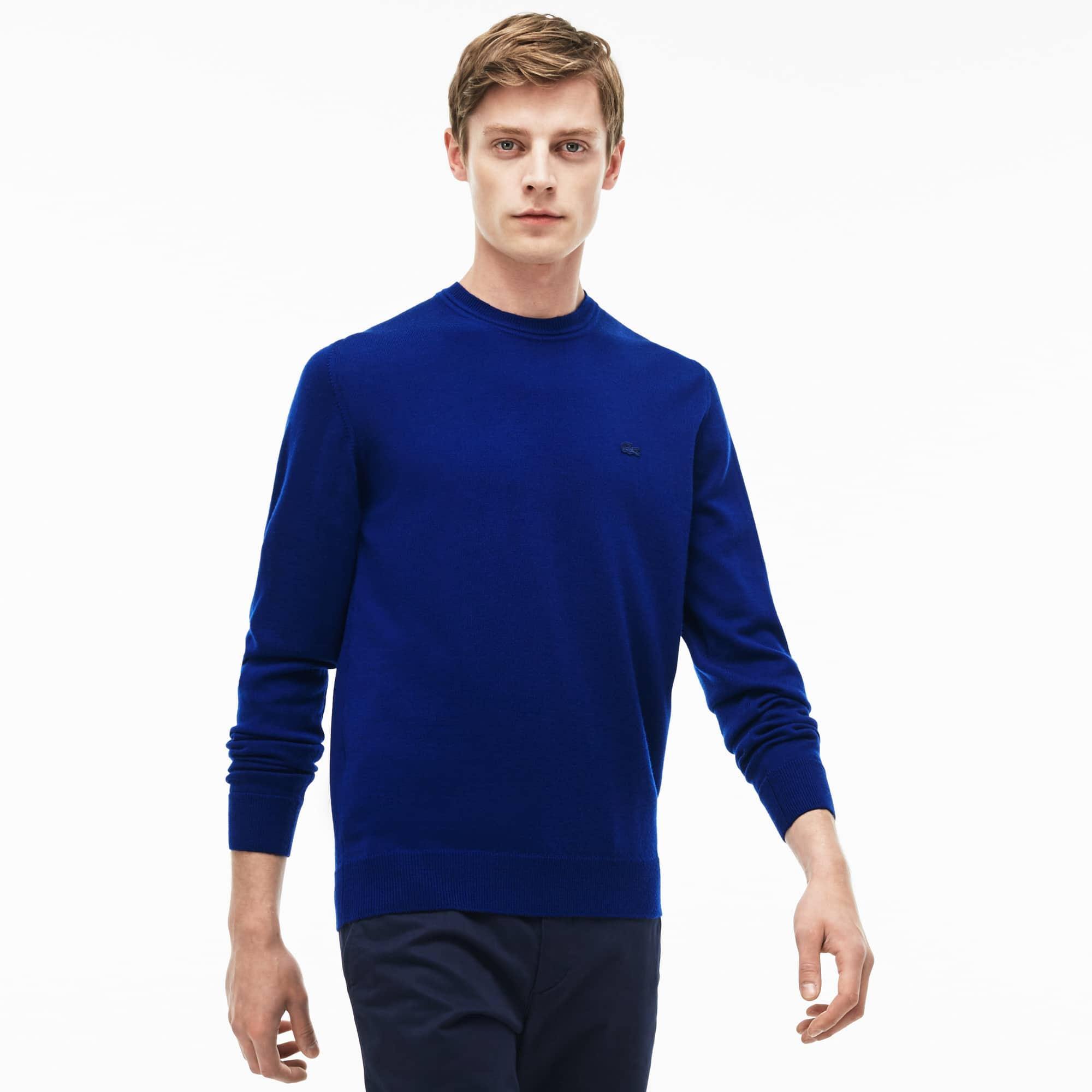 Pull col ras du cou en jersey de laine uni