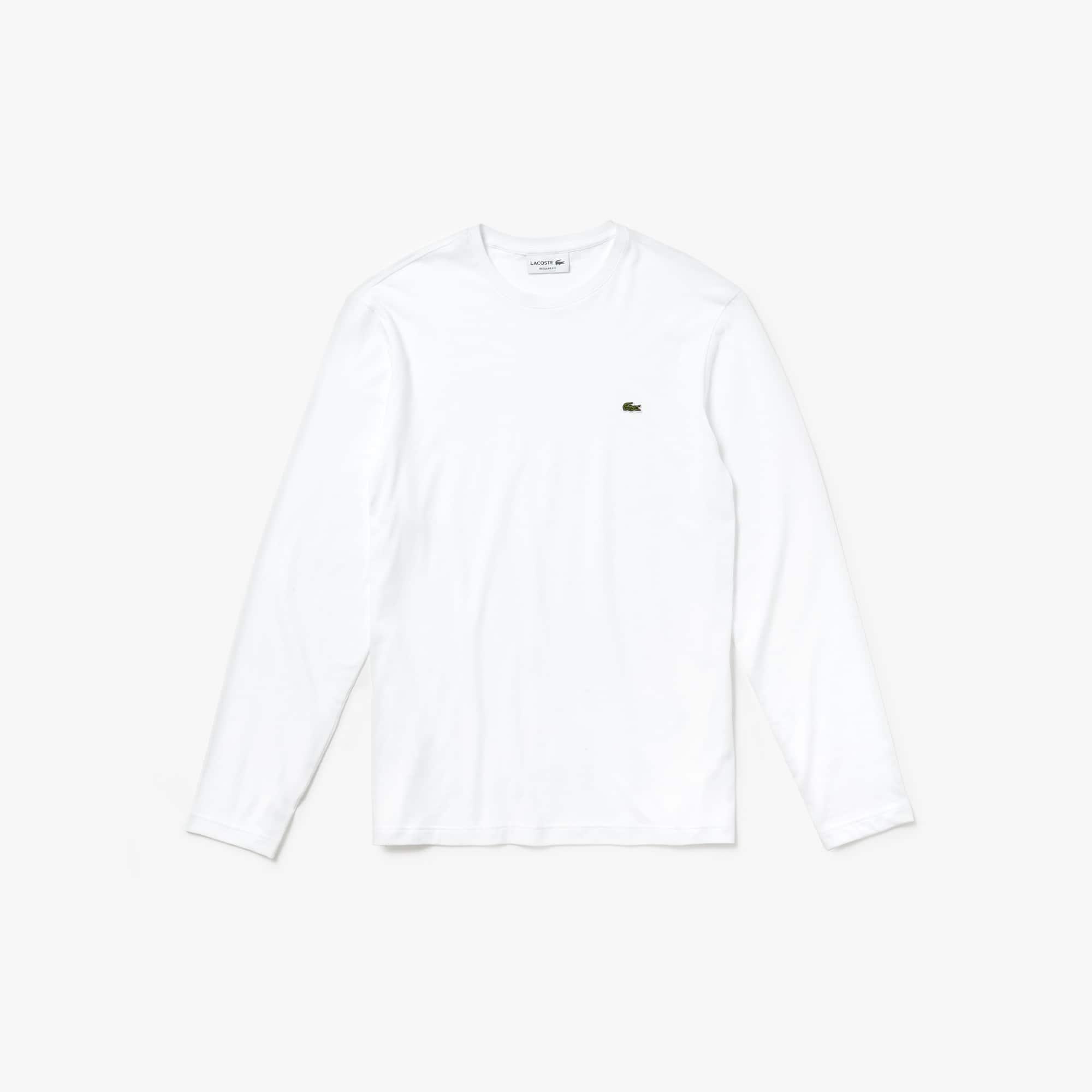 T-shirt ras du cou à manches longues en jersey de coton uni