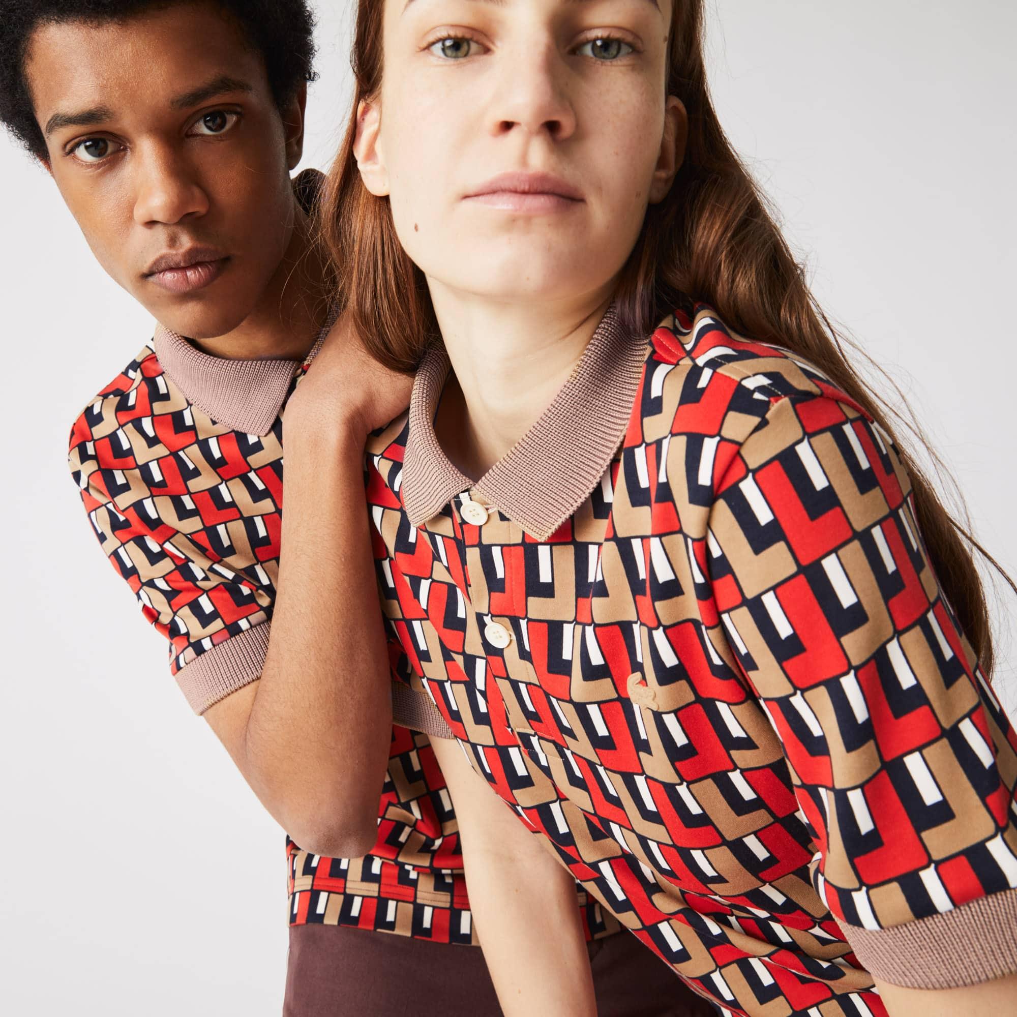 Polo unisexe Lacoste LIVE standard fit en coton imprimé Taille 5 - L Beige / Rouge