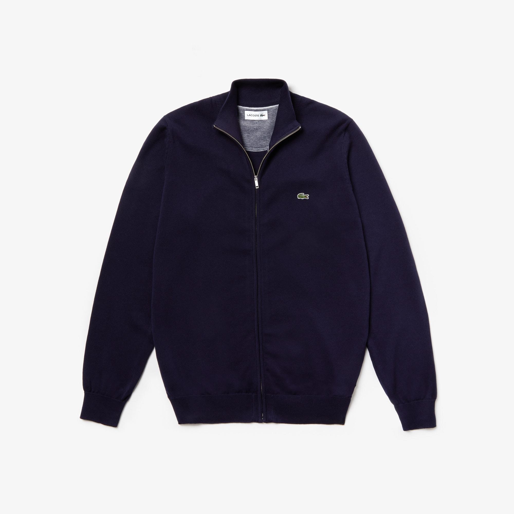 c1bb2c389027e Gilet zippé col montant en jersey de coton uni