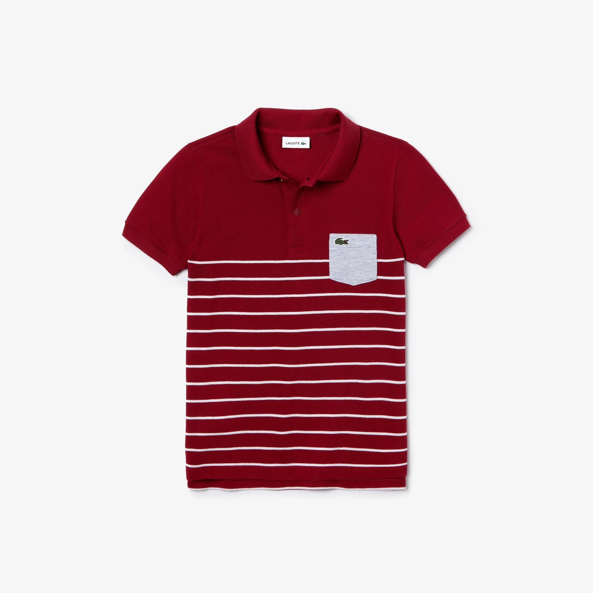 Polo Garçon Lacoste en piqué de coton rayé avec poche contrastée Taille 1 an Bordeaux / Blanc / Gris