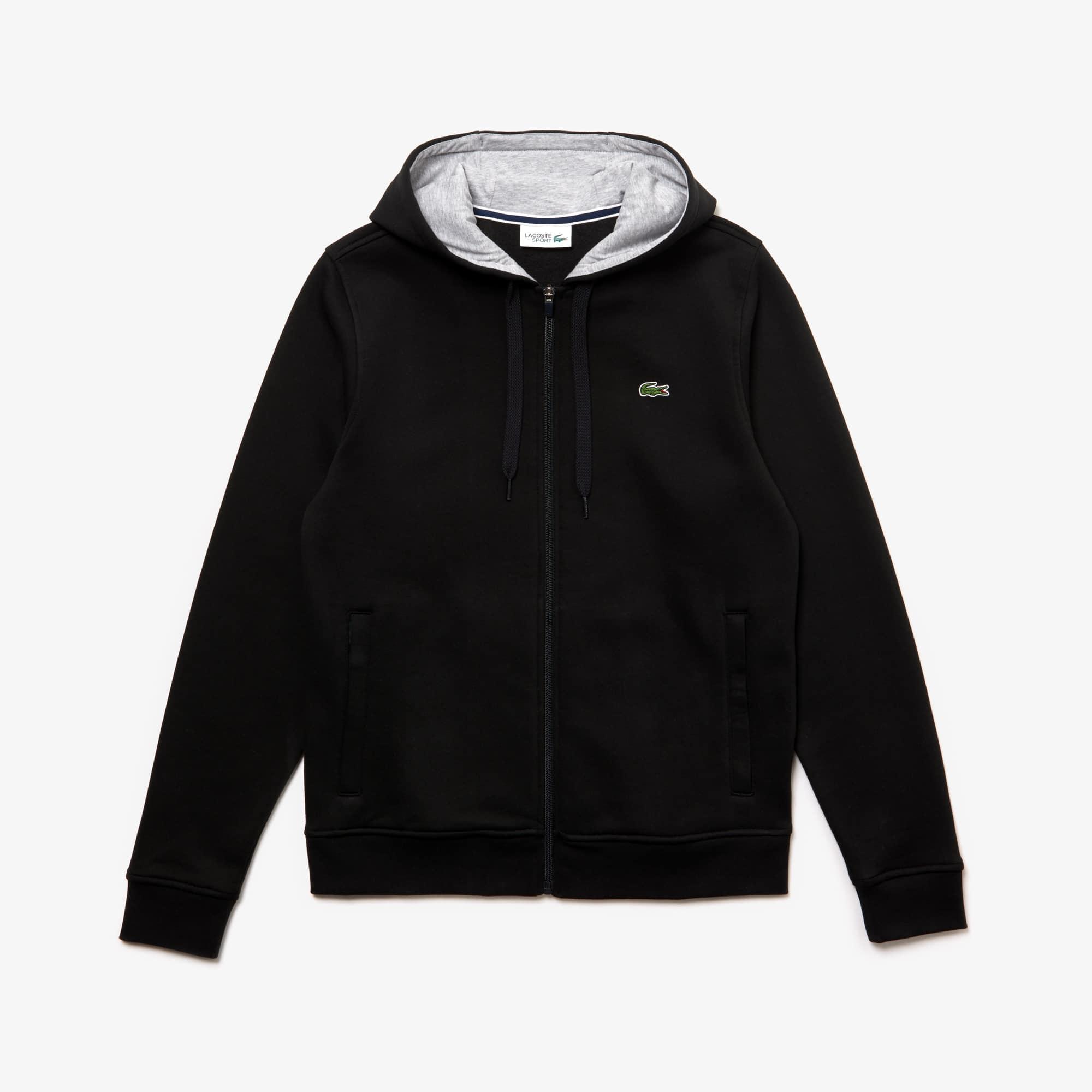 ae6cf0490179 Sweatshirt zippé à capuche Tennis Lacoste SPORT en molleton uni ...