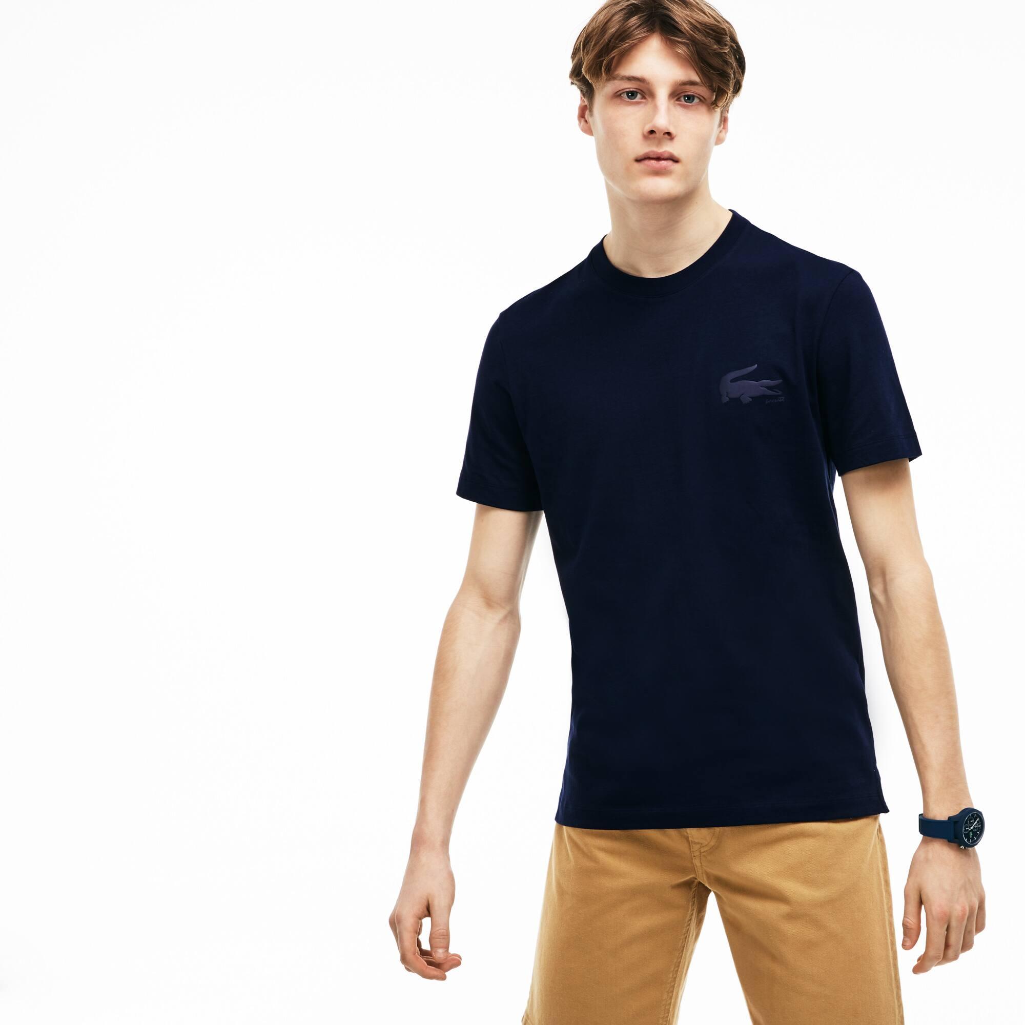 T-shirt col rond en jersey de coton uni avec marquage crocodile