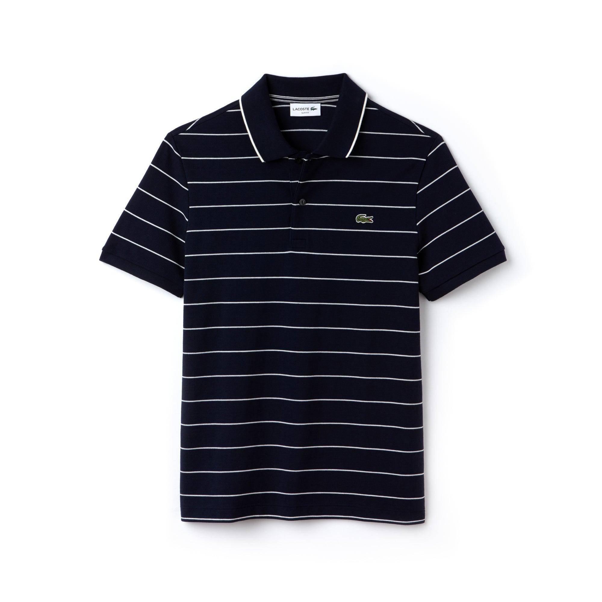 Polo slim fit Lacoste en maille carrée et jersey rayé avec piping