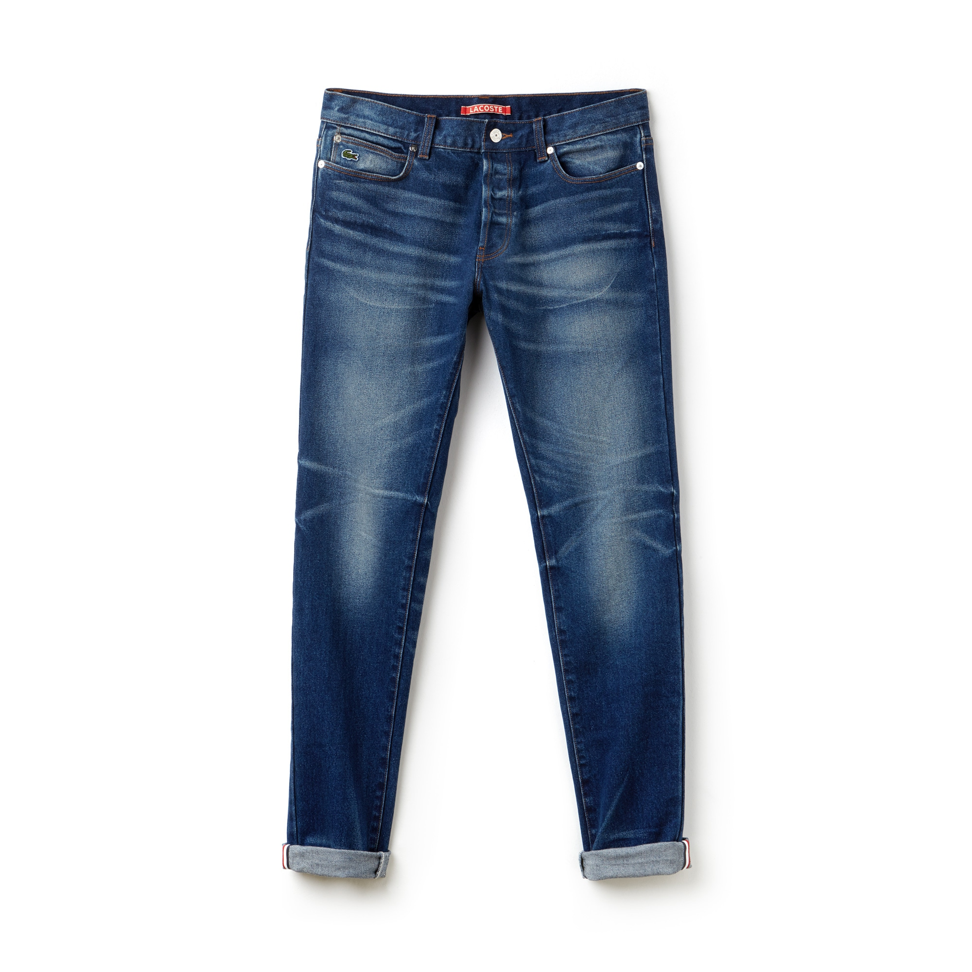 Jean 5 poches Lacoste LIVE en denim stretch avec revers