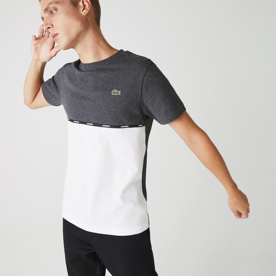 Men's Lacoste SPORT Crew Neck Lightweight Bicolour Cotton T-shirt