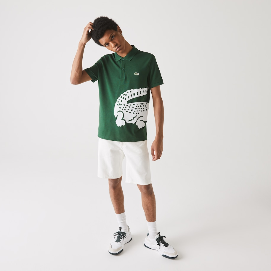 Men's Lacoste Regular fit Oversized Crocodile Print Polo Shirt