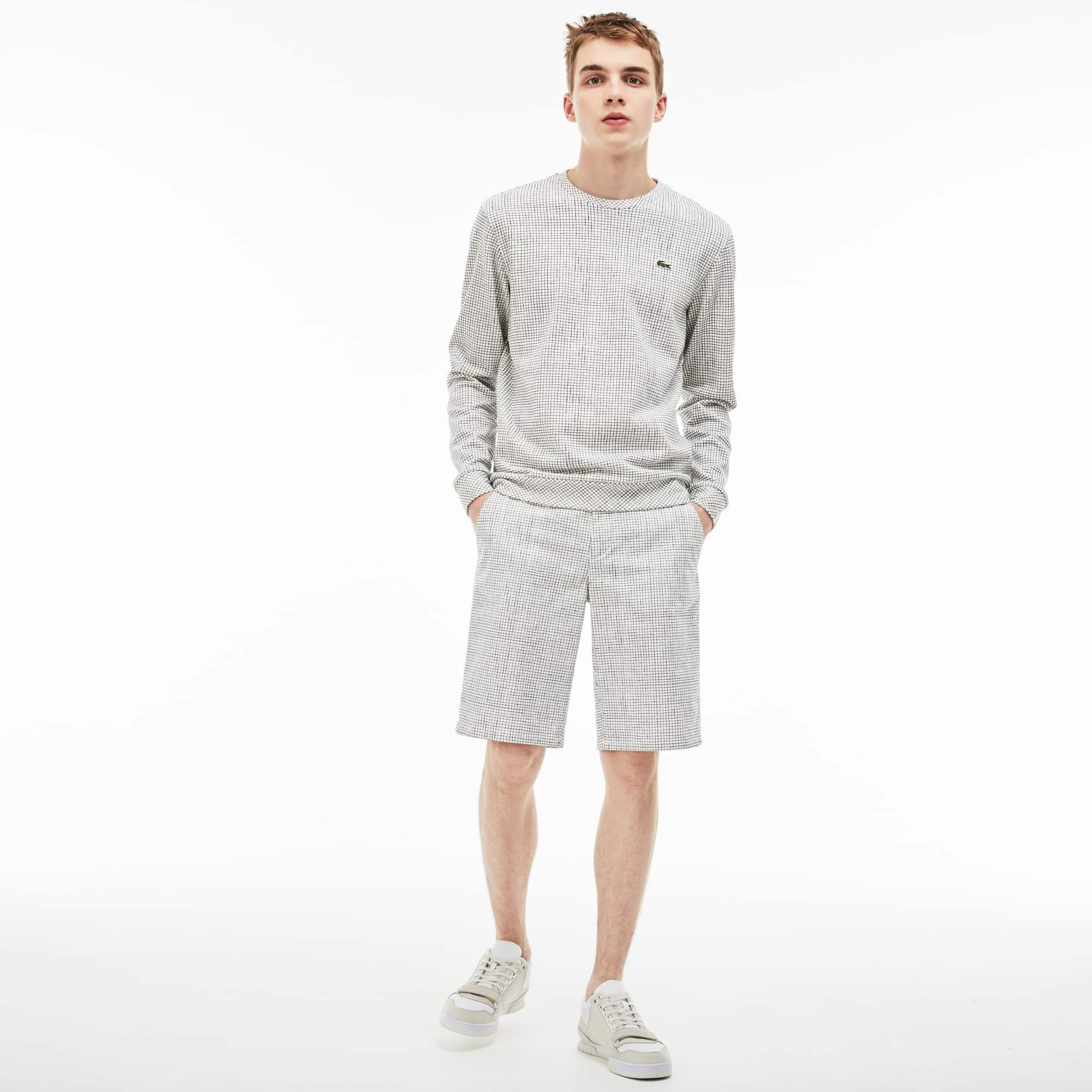 Men's Lacoste LIVE Mini Check Stretch Cotton Twill Bermuda Shorts