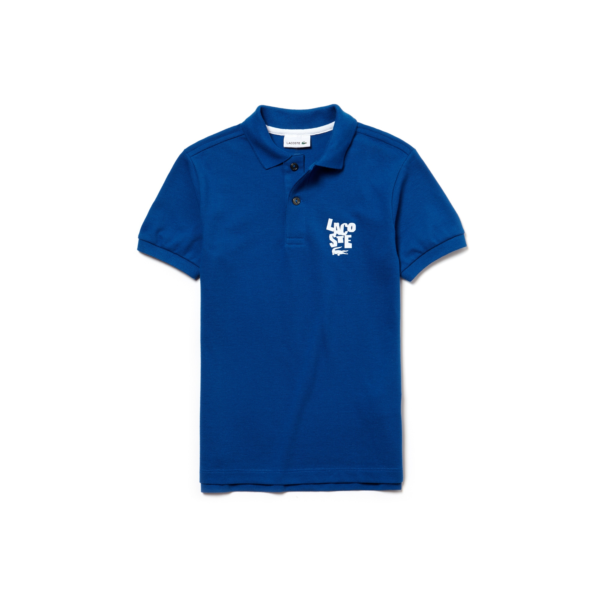 Boys' Lacoste Lettering Cotton Petit Piqué Polo Shirt