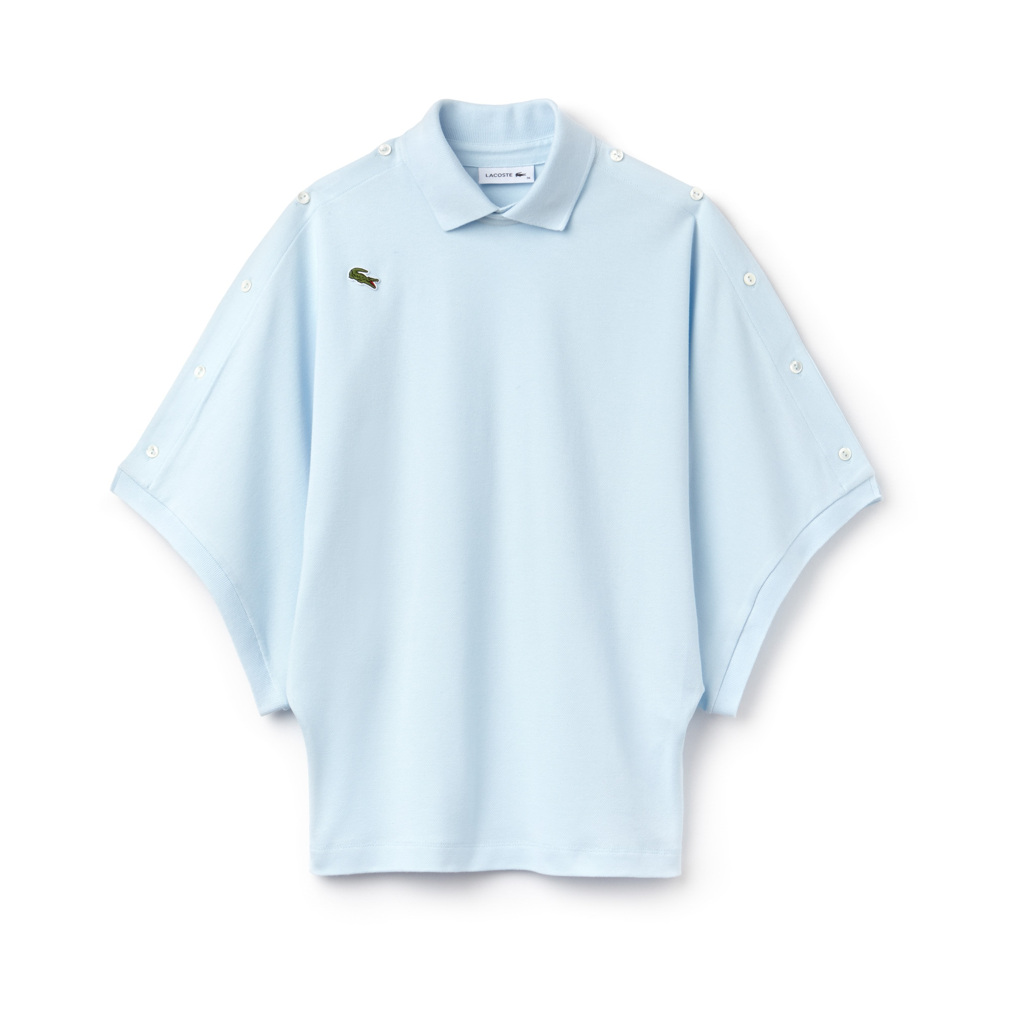 Women's Lacoste Fashion Show Loose Fit Buttoned Sleeves Cotton Piqué Polo Shirt