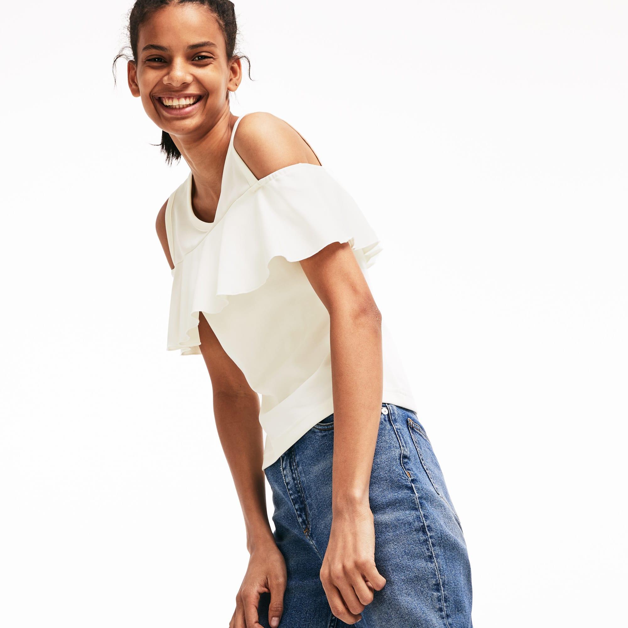 1e21ea4cc95000 Women's Lacoste LIVE Cutout Flounced Cotton Blend T-shirt