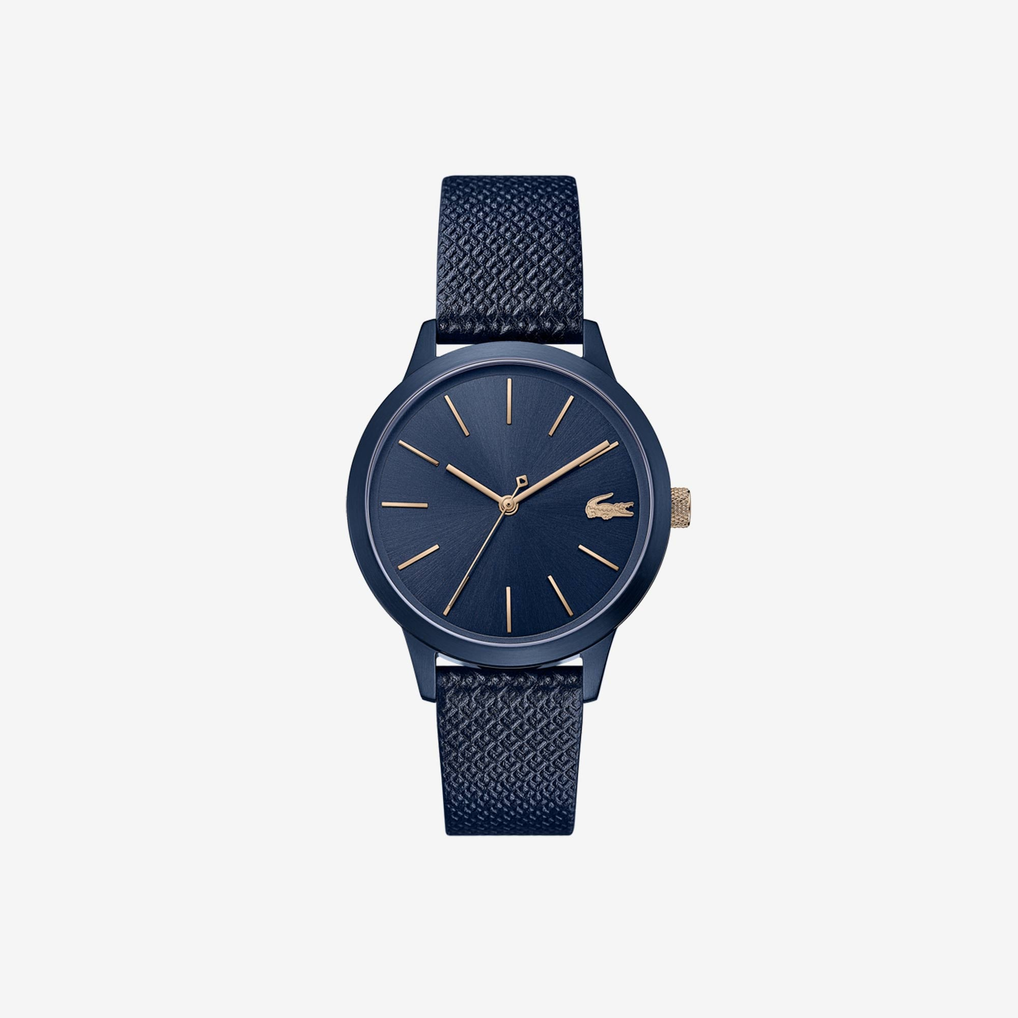 Ladies Lacoste 12.12 Premium Watch With Blue Leather With Embossed Petit Piqué Pattern Strap