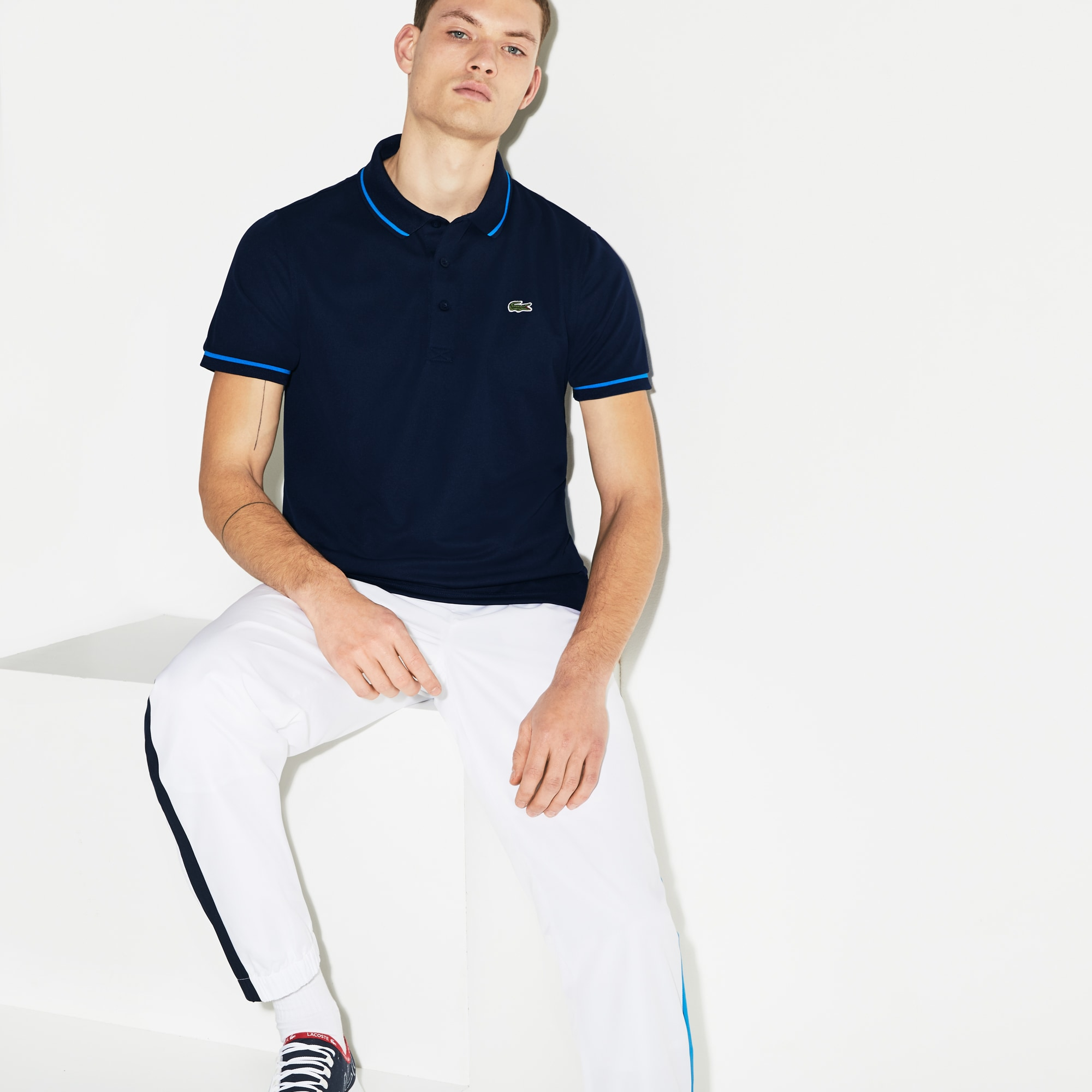 0f77c26847 Men's Lacoste SPORT Tennis Piped Technical Piqué Polo Shirt | LACOSTE
