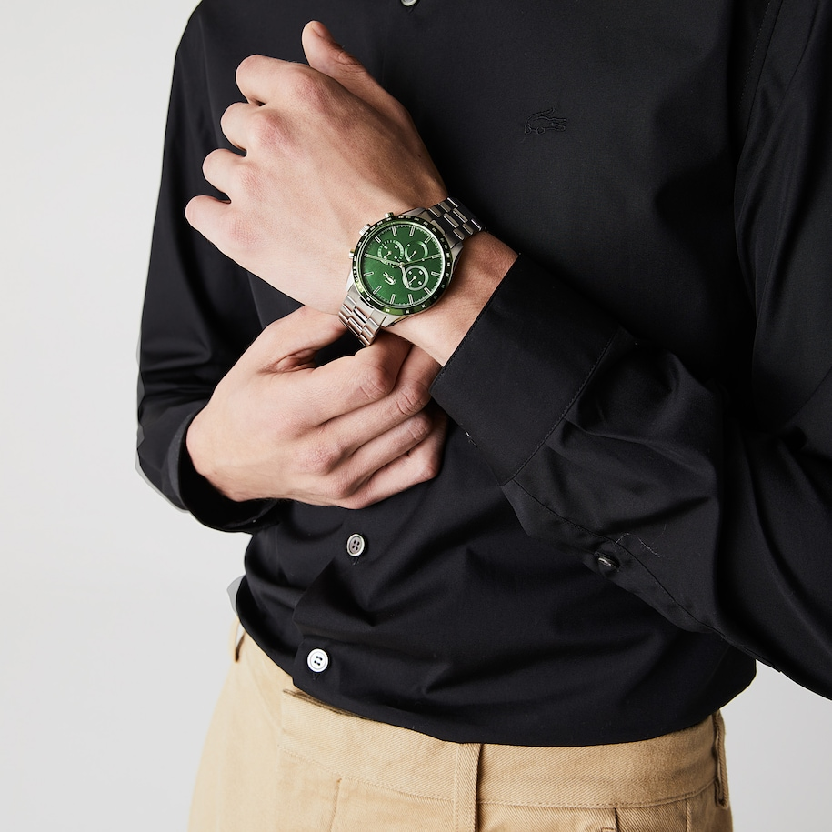 Boston Chrono Watch - Green With Stainless Steel Strap