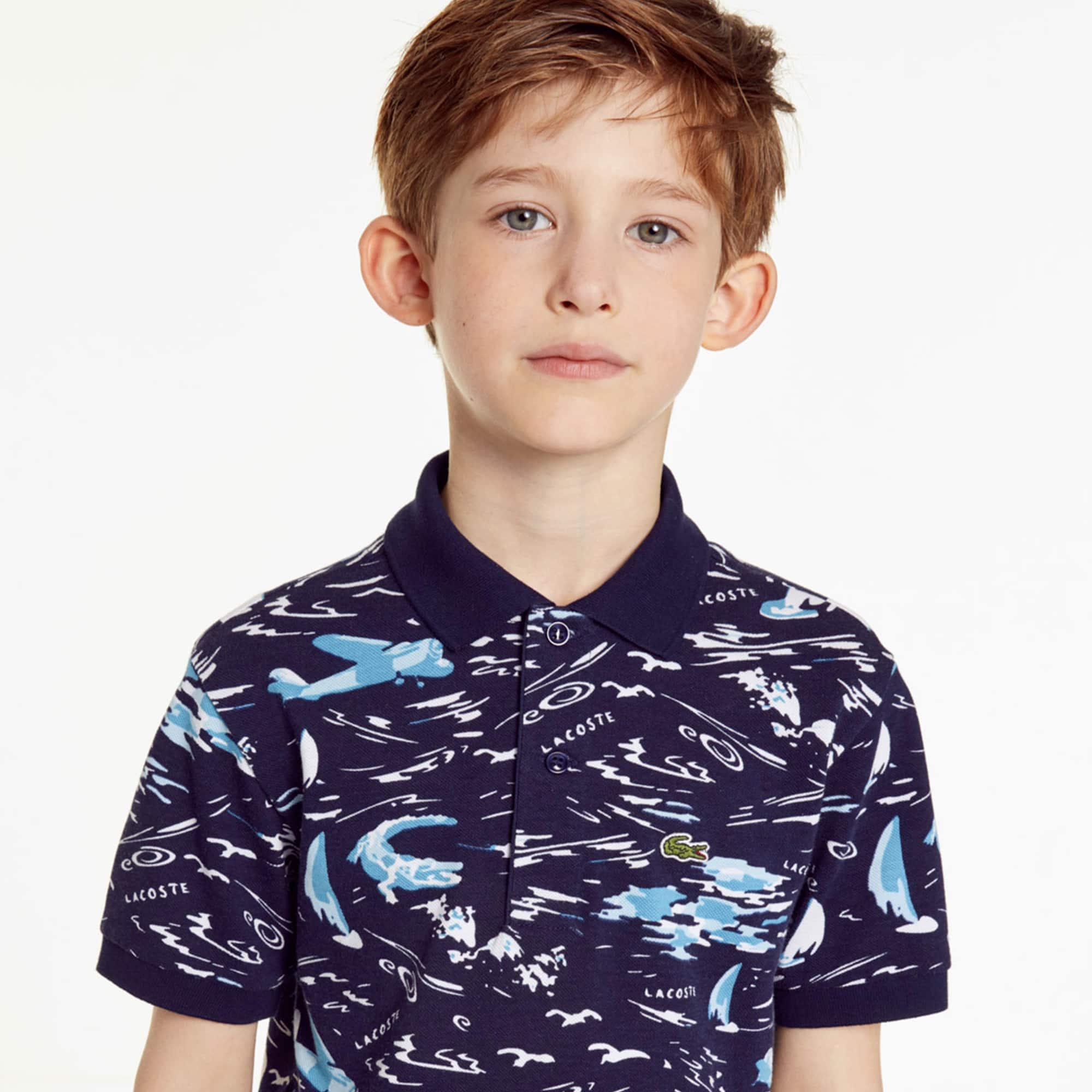 5f7d1252f9a2 Boys  Lacoste Palm Print Cotton Mini Piqué Polo Shirt