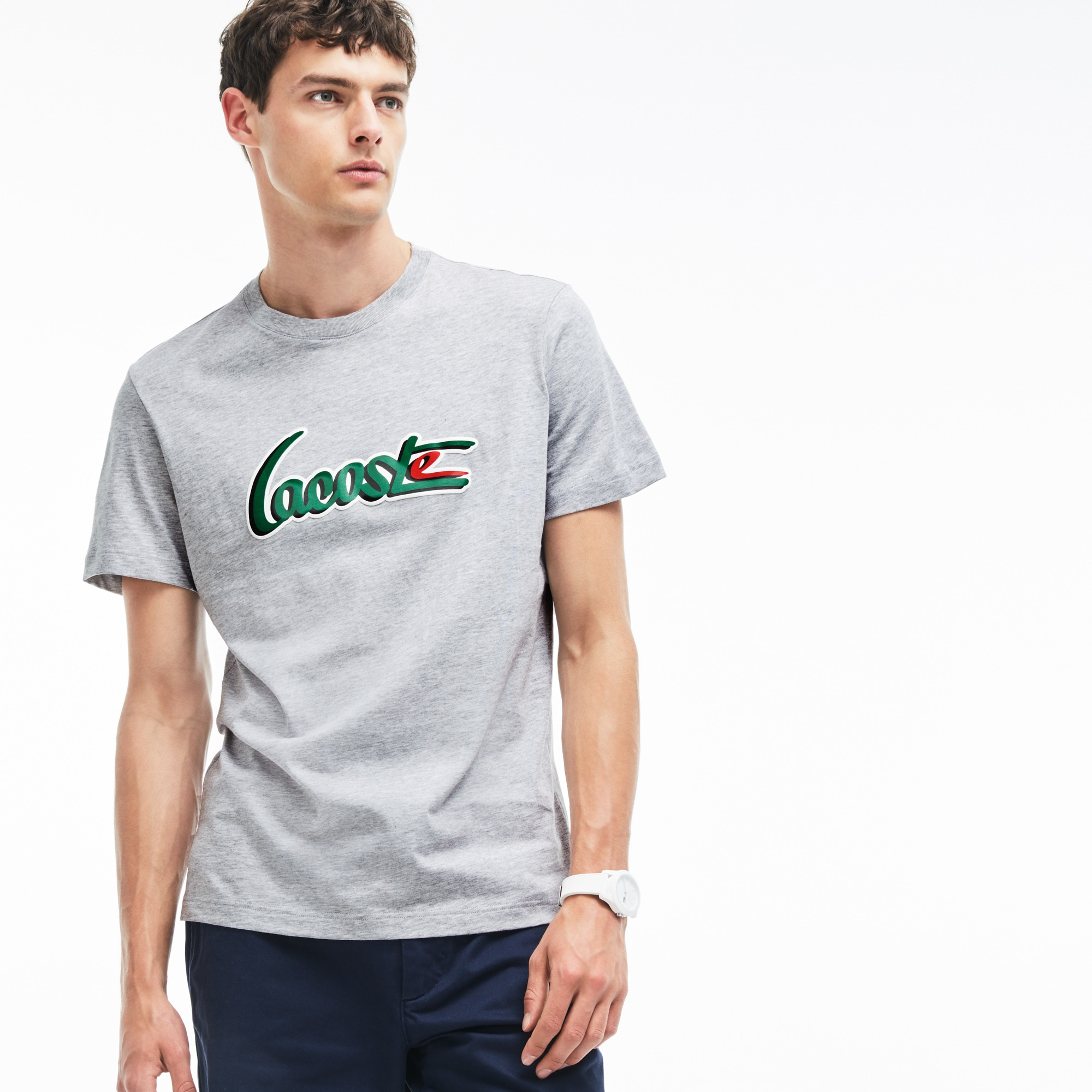 Men's Crew Neck 3D LACOSTE Lettering Jersey T-shirt