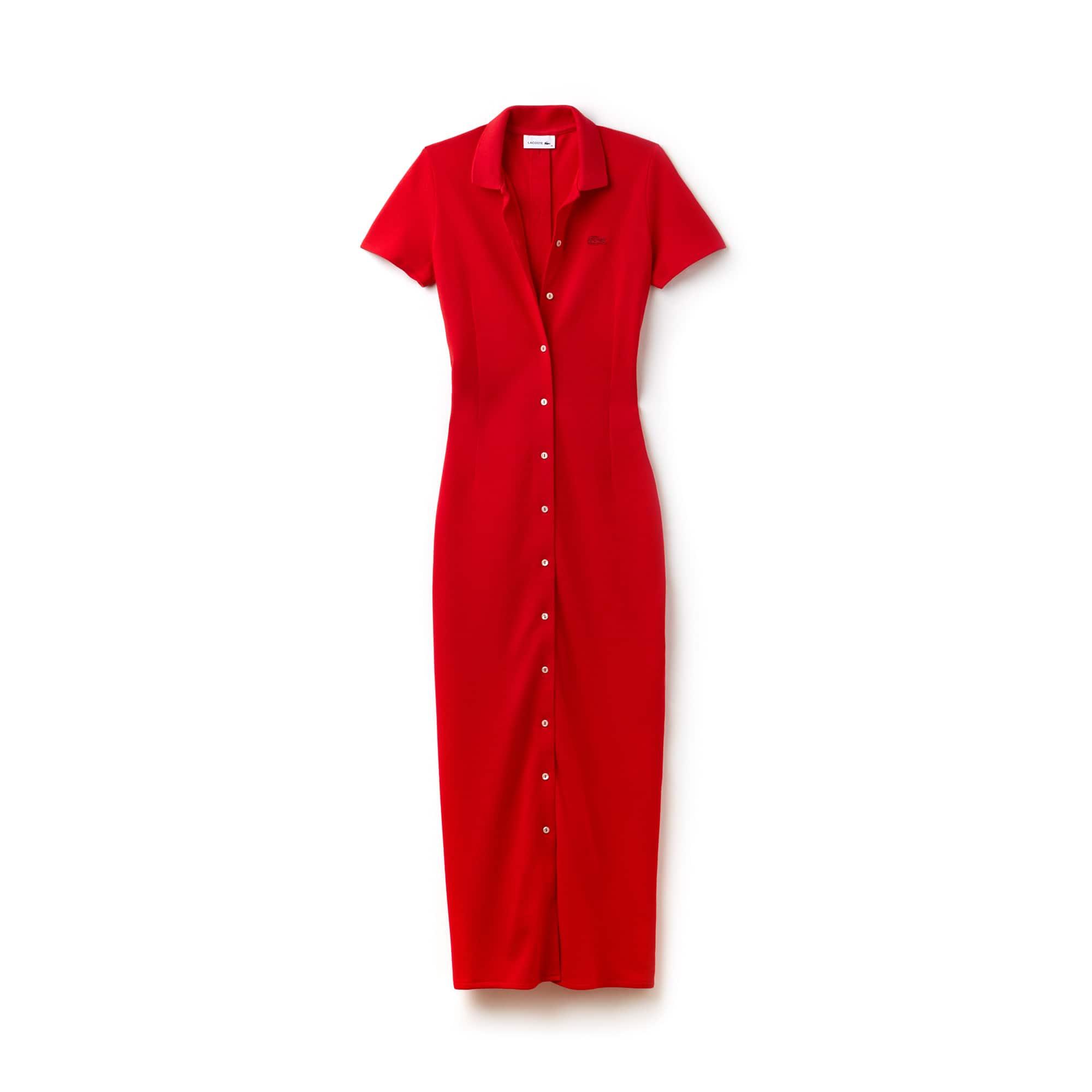 Women's Buttoned Heavy Piqué Long Polo Dress