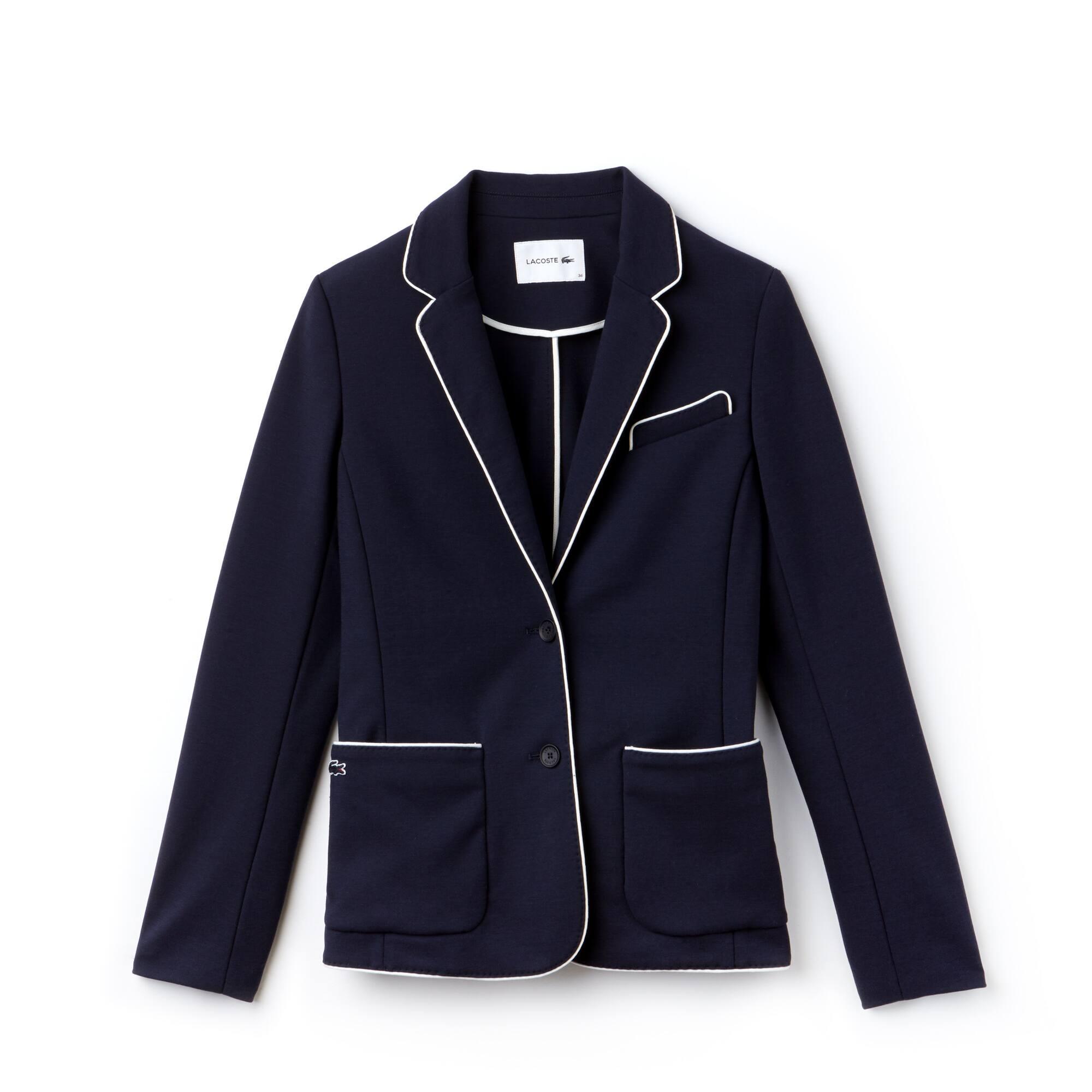 Women's Piped Cotton Crepe Interlock Blazer