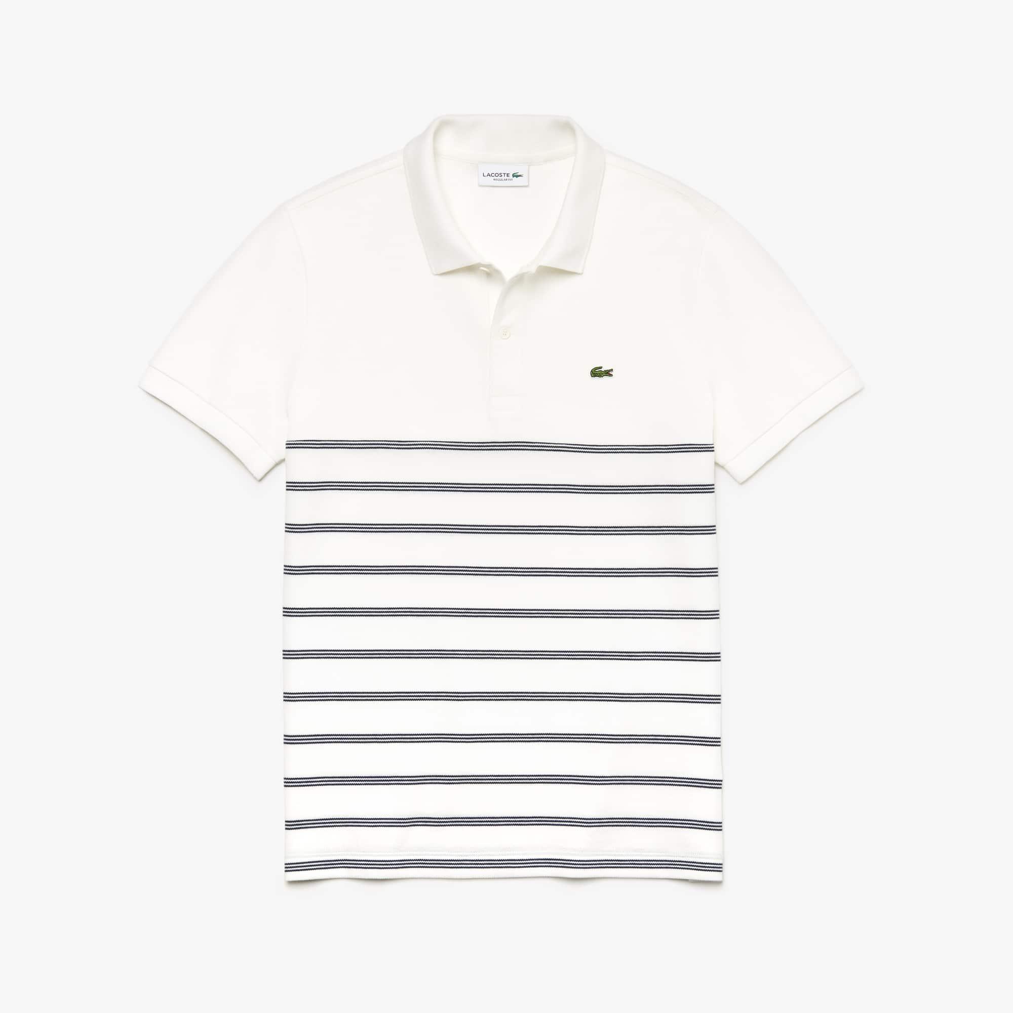 e2059ddd Men's Lacoste Regular Fit Striped Cotton Piqué Polo Shirt